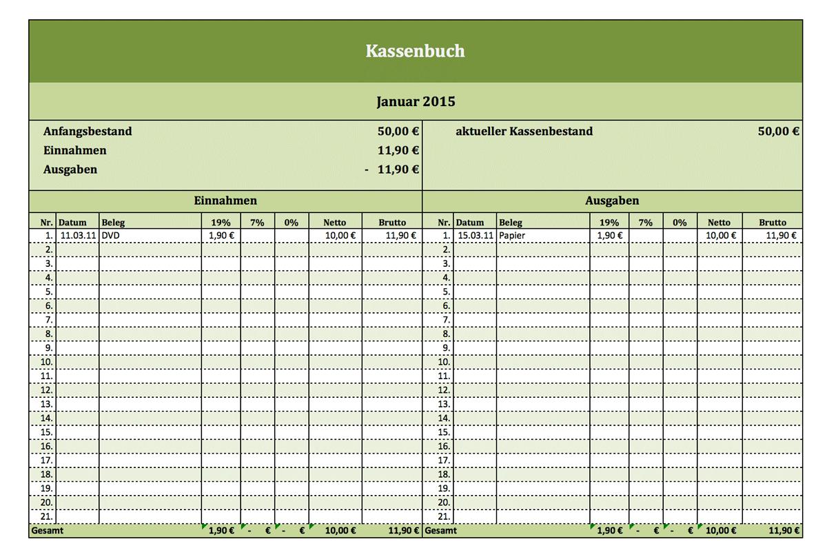 Kostenloses Kassenbuch Als Excel Vorlage
