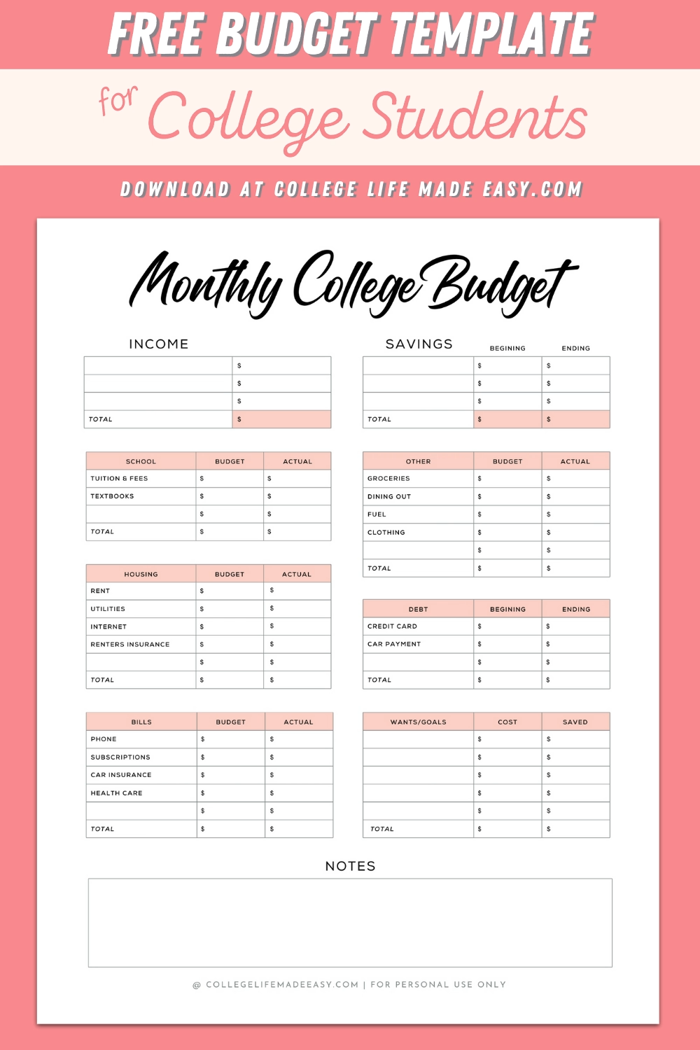 Printable Budget Worksheets Weekly Spending Trackers For College Students Download Fo In 2020 Printable Budget Worksheet College Student Budget Budget Template Free