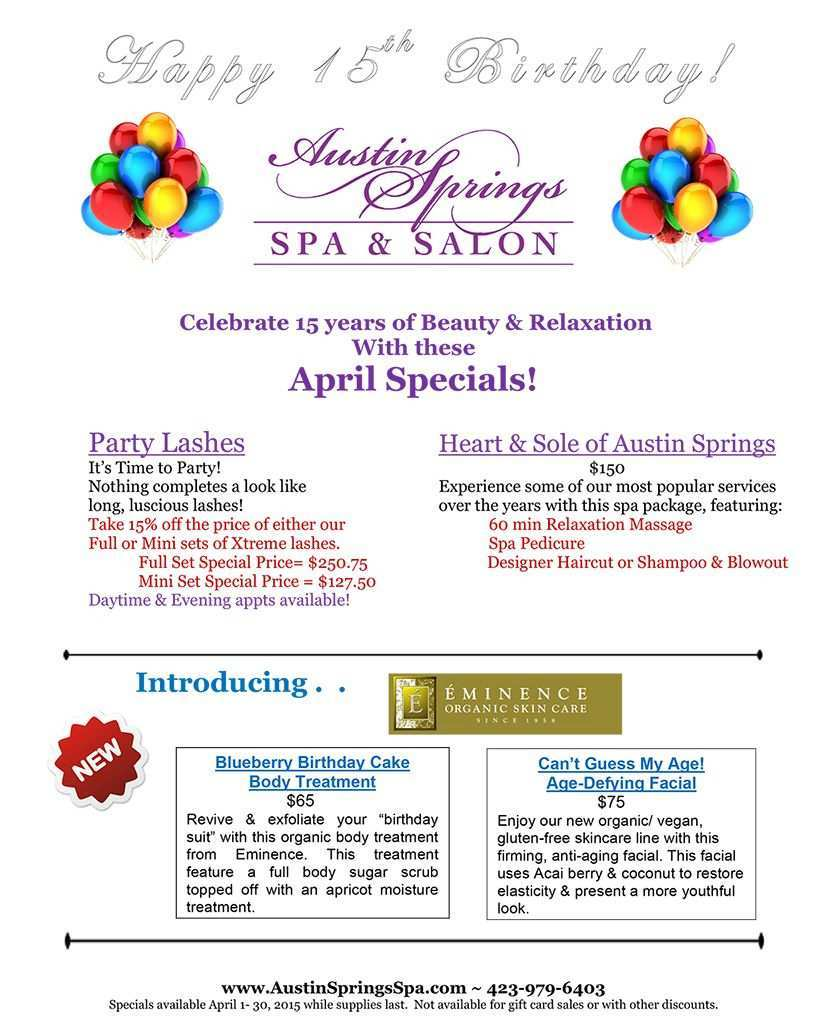 Celebrate 15 Years Of Beauty Relaxation With Our April Specials Spa Specials Spa Marketing Spa Treatments