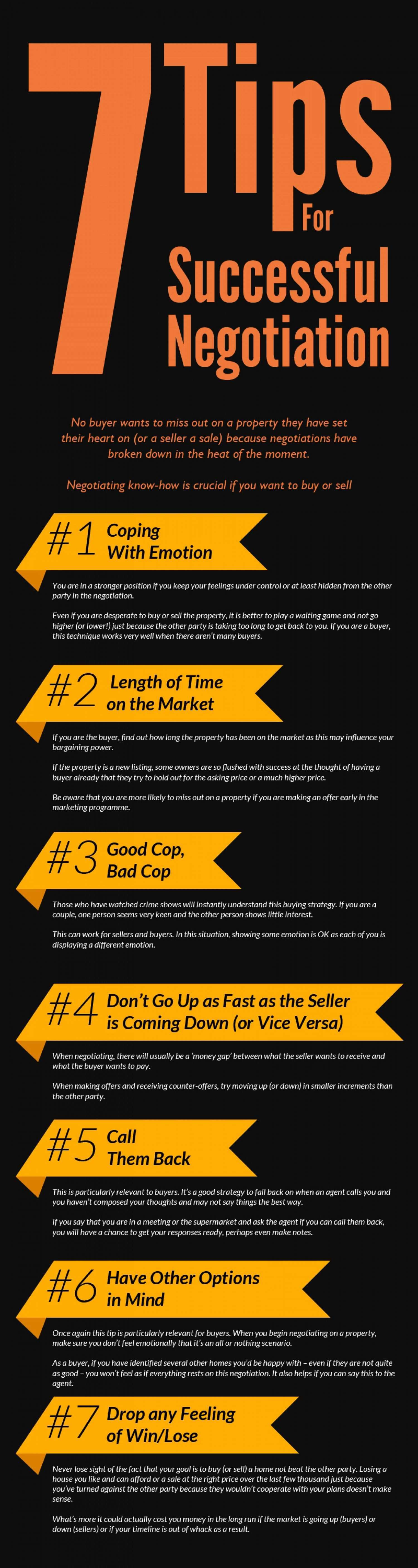 7 Tips For Successful Negotiation Infographic With Images Negotiation Skills Negotiation Business Management