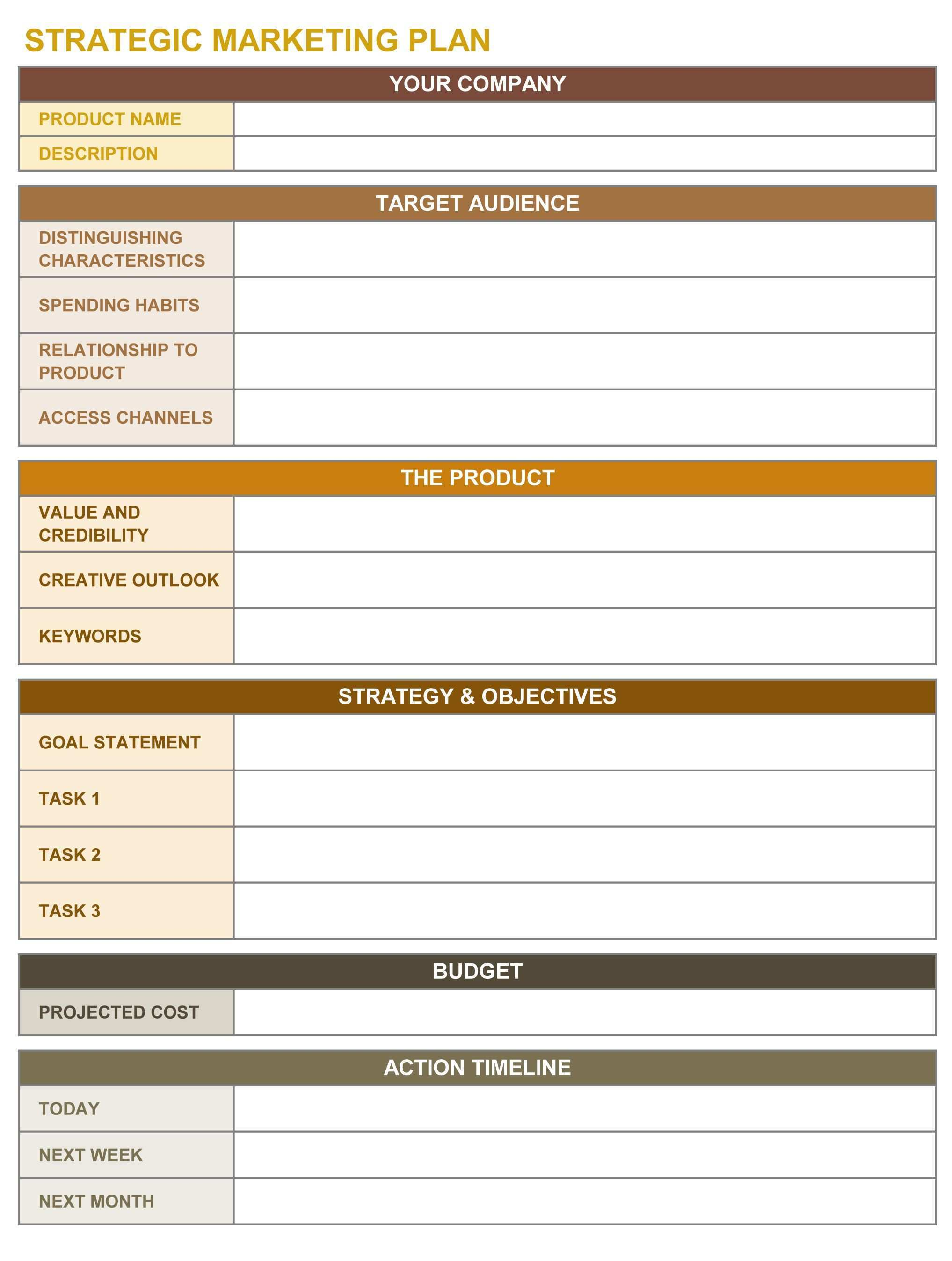 Strategic Marketing Plan Excel Template Strategic Planning Template Strategic Marketing Plan Marketing Strategy Template