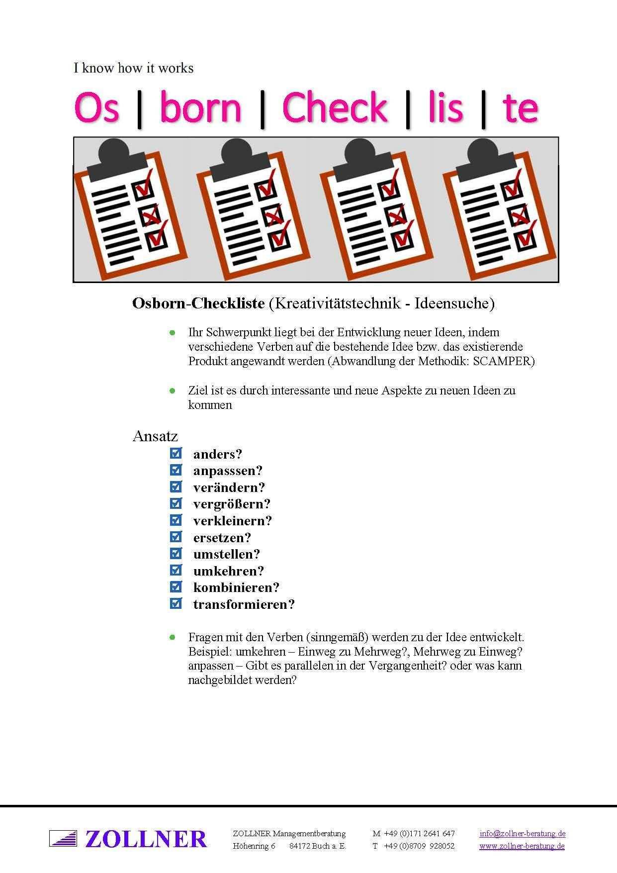 Tool Box Osborn Checkliste Wolfgang Zollner Lernmethoden Werkzeugkasten Personalfuhrung