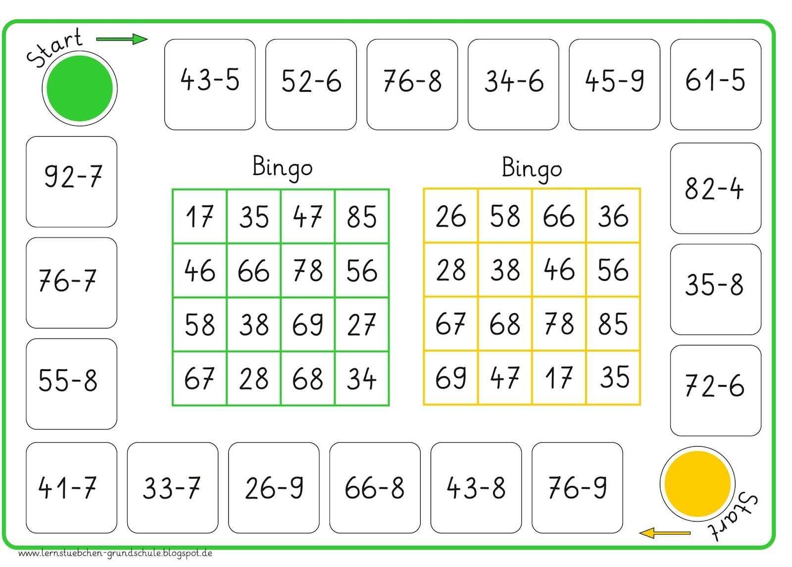 Hier Jetzt Das Rechenbingo Zur Subtraktion Von Einer Mit Zehneruberschreitung Und Noch Einmal Kurz Die Spielanleitung Die Spi Bingo Spiele Mathe Lernen