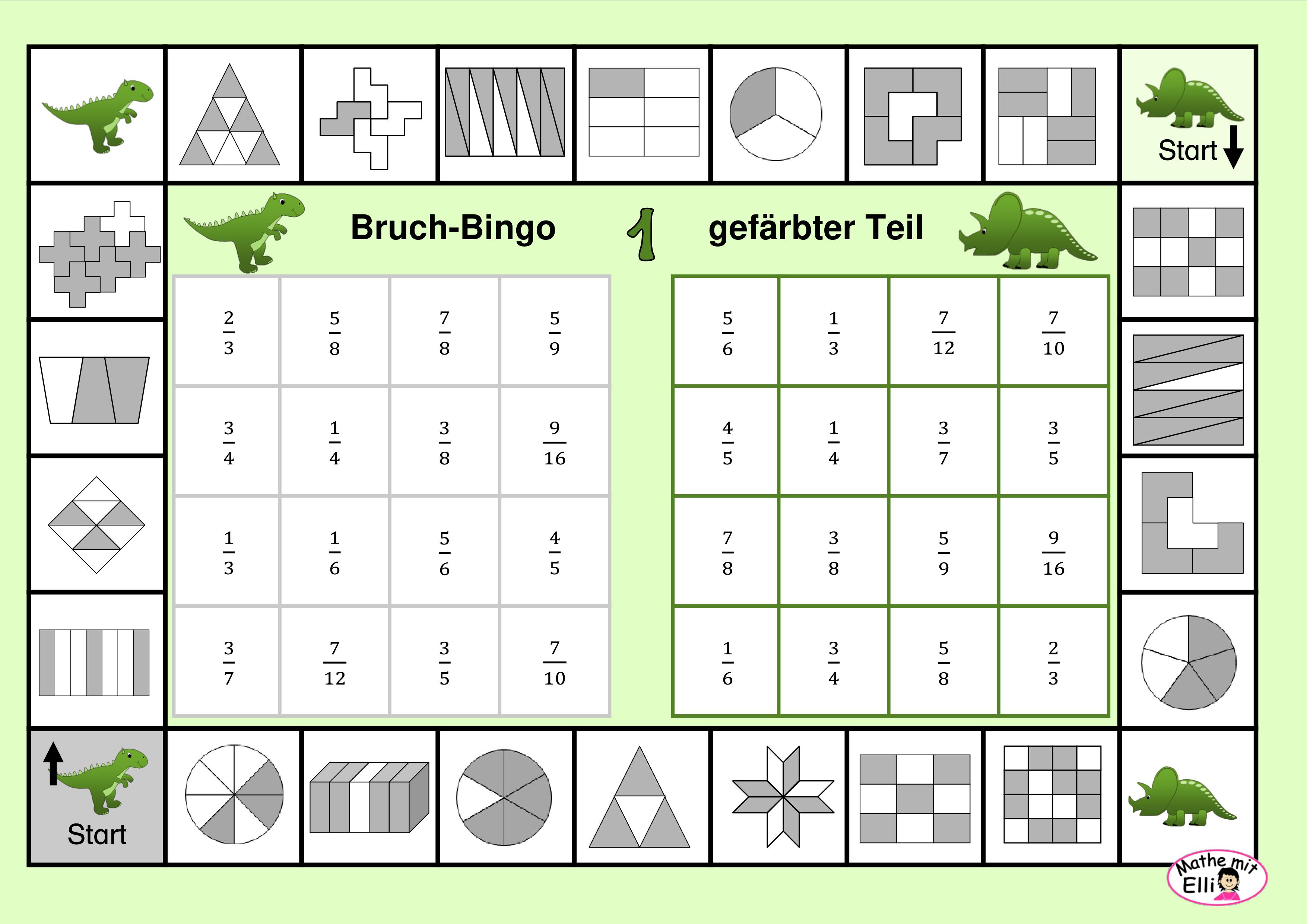 Bruch Bingo Bingo Bruchrechnen Mathematikunterricht