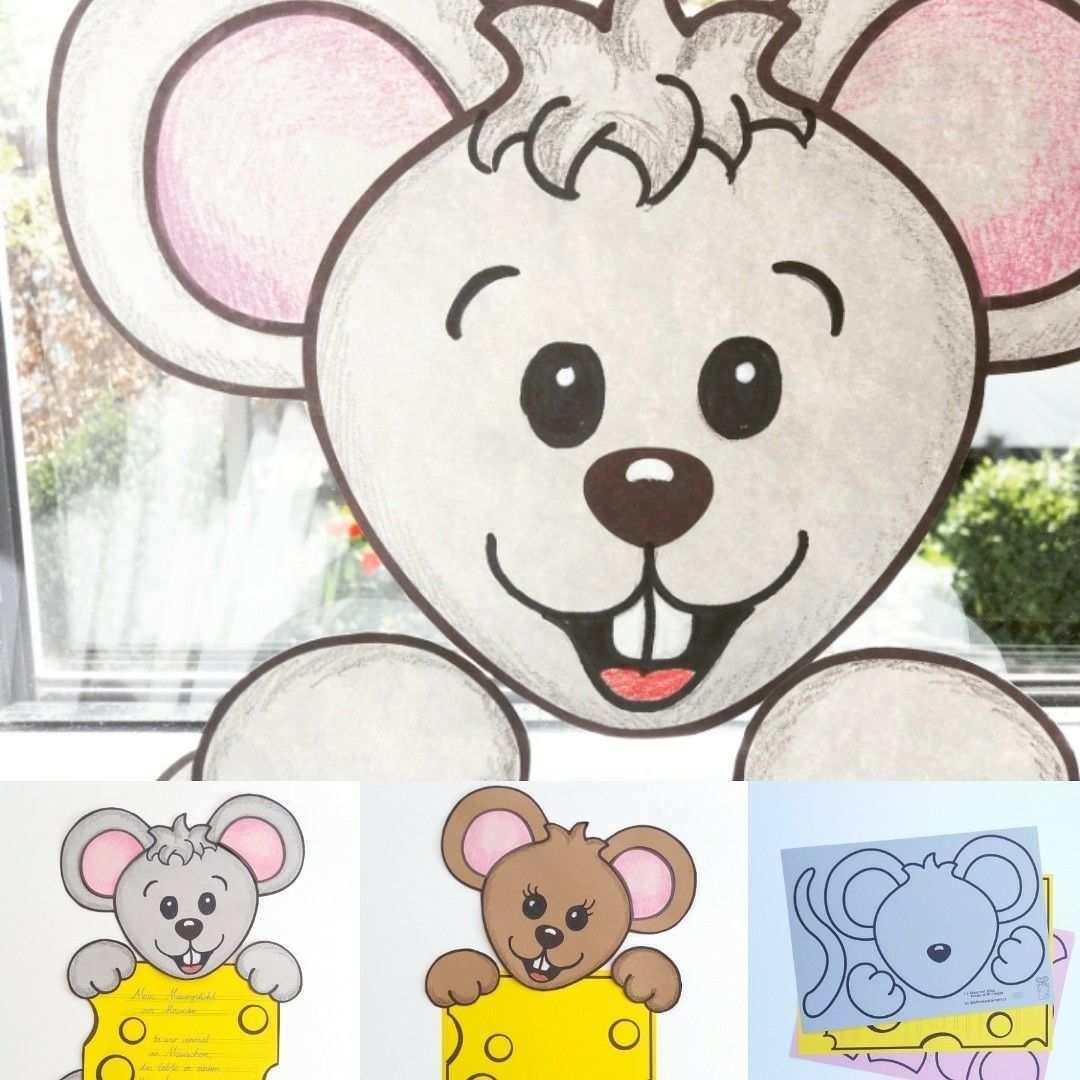 Fensterbild Maus Mit Kase Arbeitsblatt Kreatives Schreiben Maus Basteln Basteln Bastelvorlagen Zum Ausdrucken