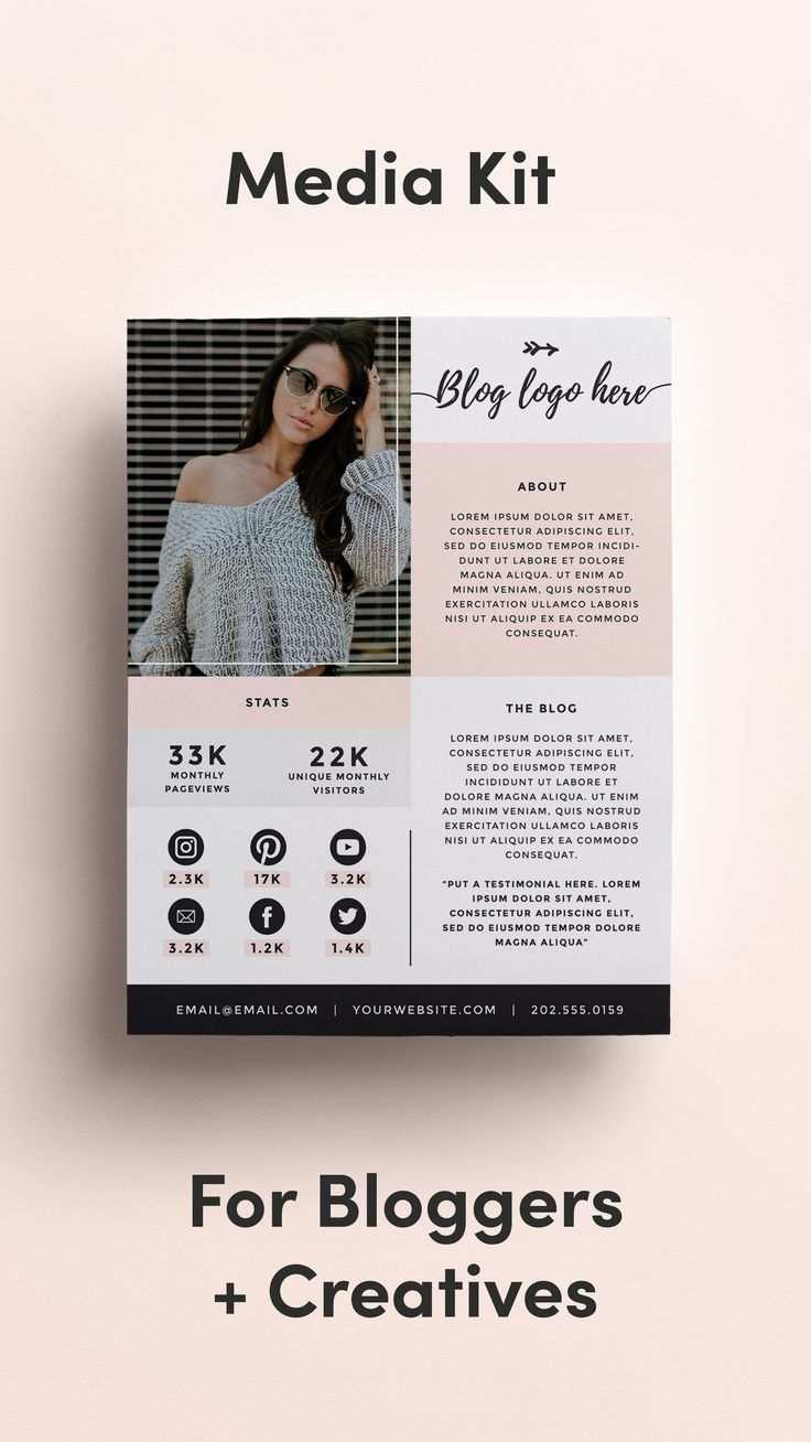 Media Kit Template For Bloggers Price List Press Kit Blogging Media Kit Advertising Rate Sheet Social Influencer Instagram Photoshop Media Kit Template Media Kit Press Kit Template