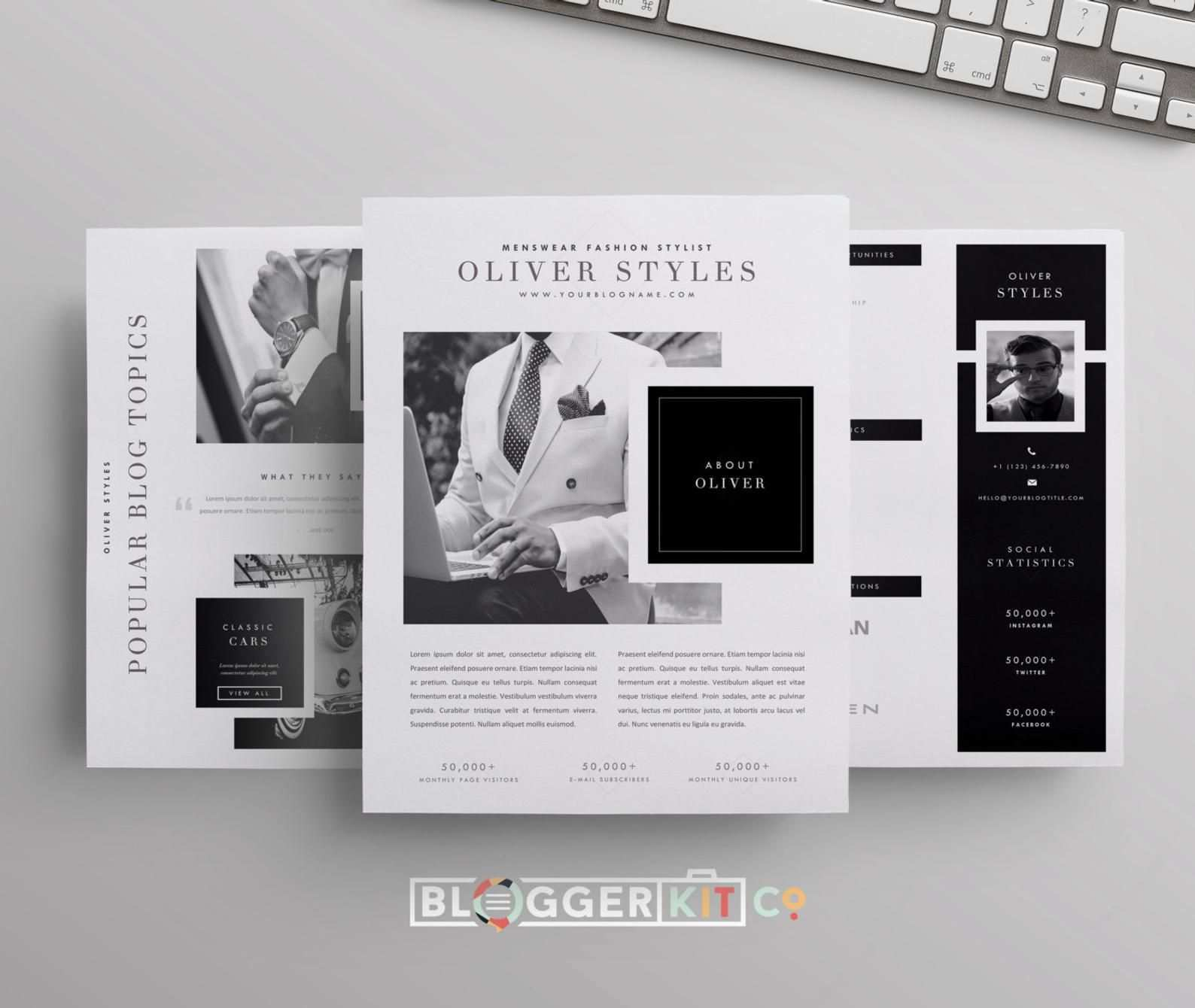 Drei Seiten Media Kit Vorlage Drucken Sie Kit Vorlage Etsy Media Kit Template Blogger Media Kit Media Kit