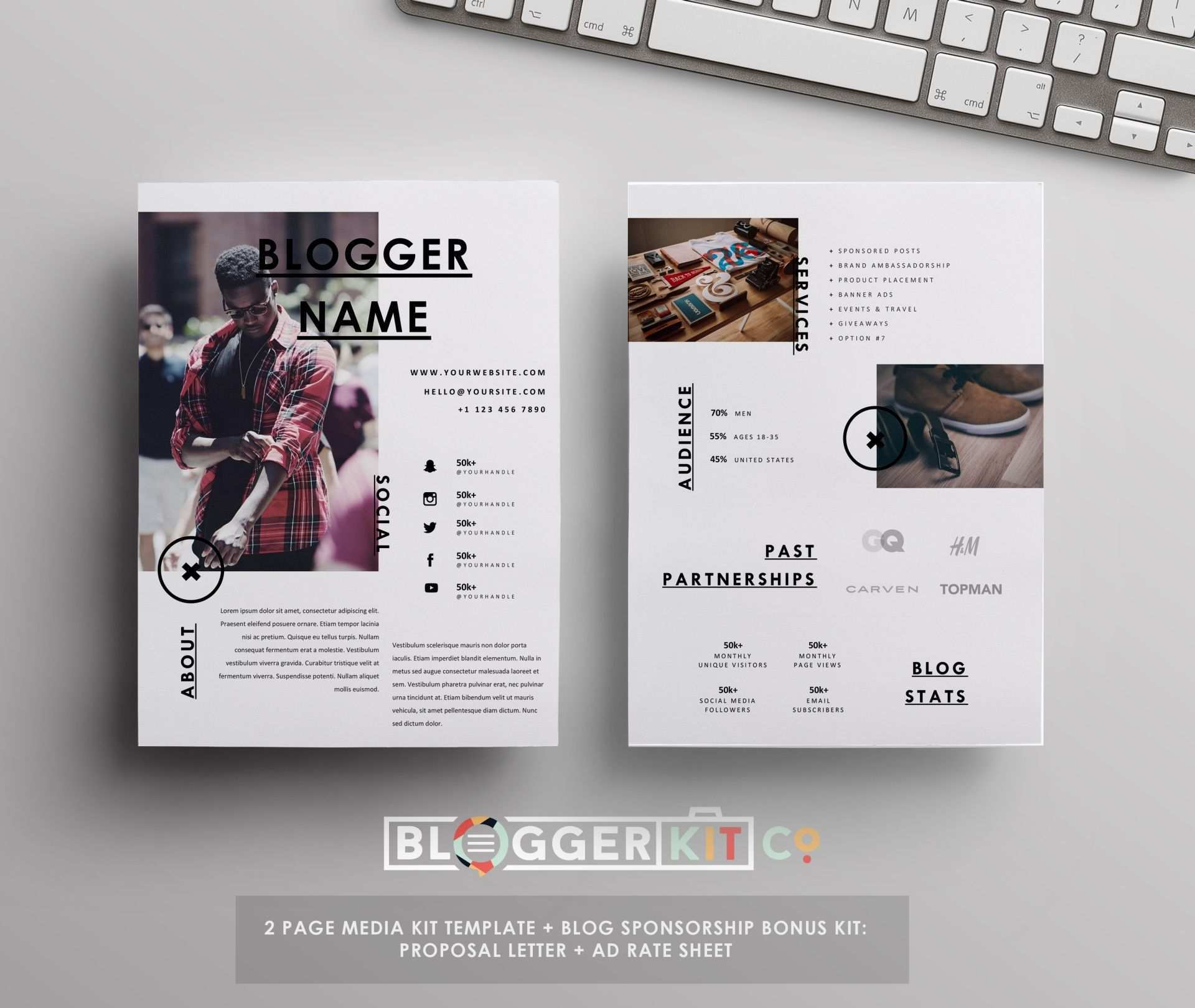 Influencer Media Kit Template Ad Rate Sheet Blog Sponsorship Set Media Kit Vorlage Lettering Web Design