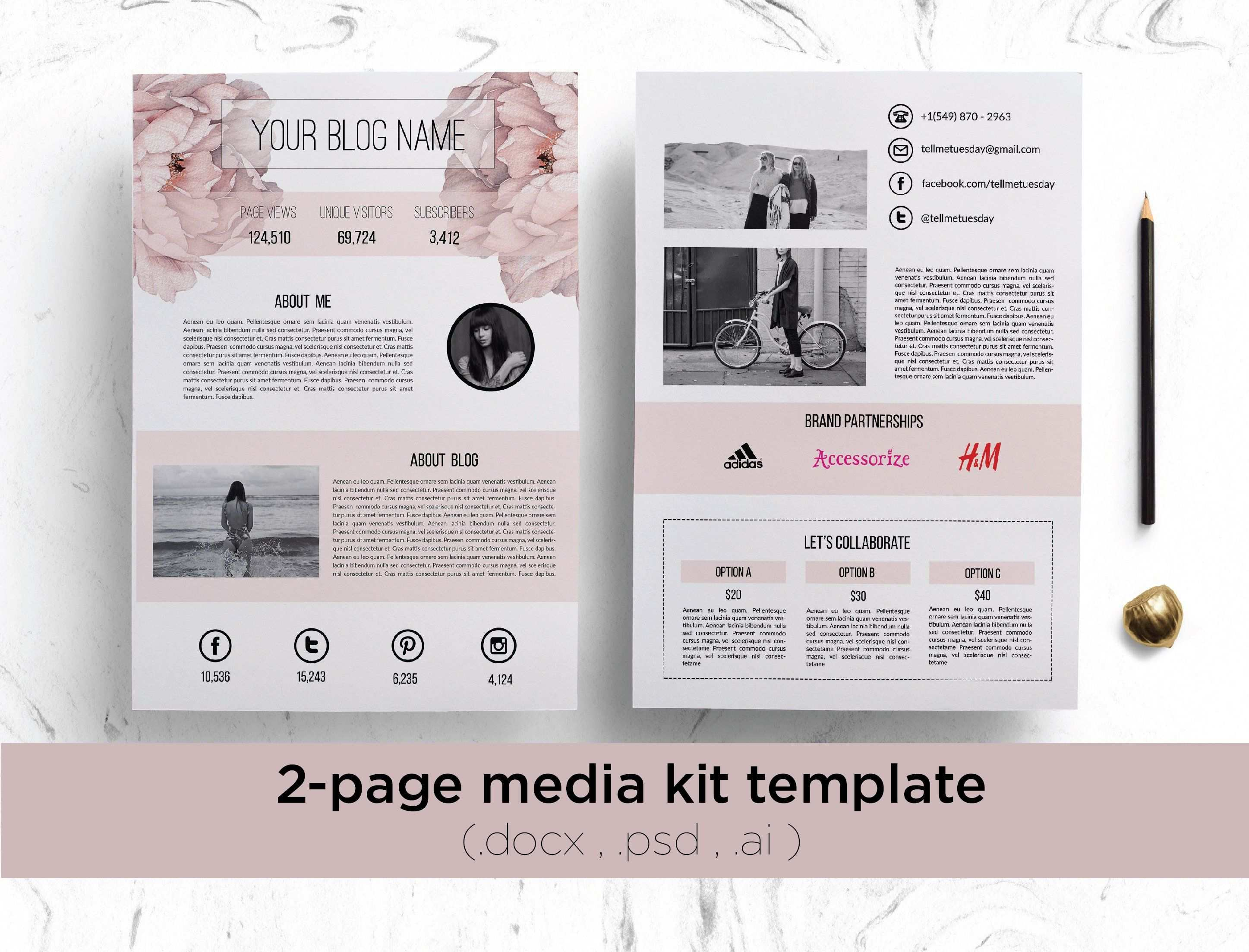 Floral Media Kit Template Media Kit Template Blog Media Kit Media Kit
