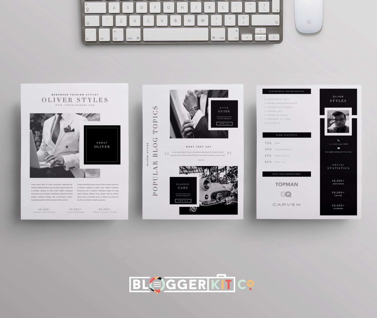 Drei Seiten Media Kit Vorlage Drucken Sie Kit Vorlage Etsy Media Kit Template Blogger Media Kit Template Blogger Media Kit