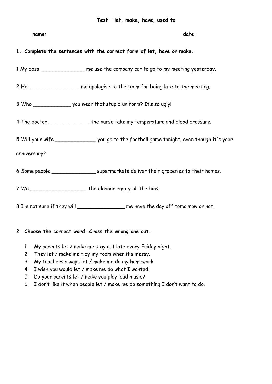 Lk Eh Klasse 9 Used To Let Make Have Englischunterricht Unterrichtsmaterial Verben