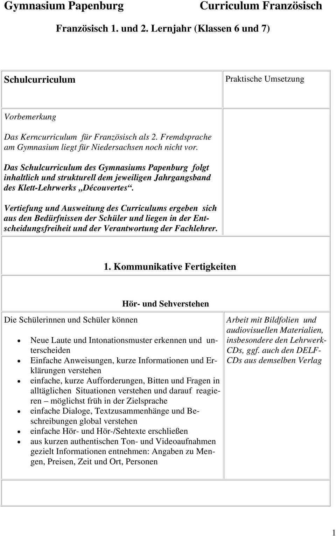 Franzosisch 1 Und 2 Lernjahr Klassen 6 Und 7 Pdf Free Download