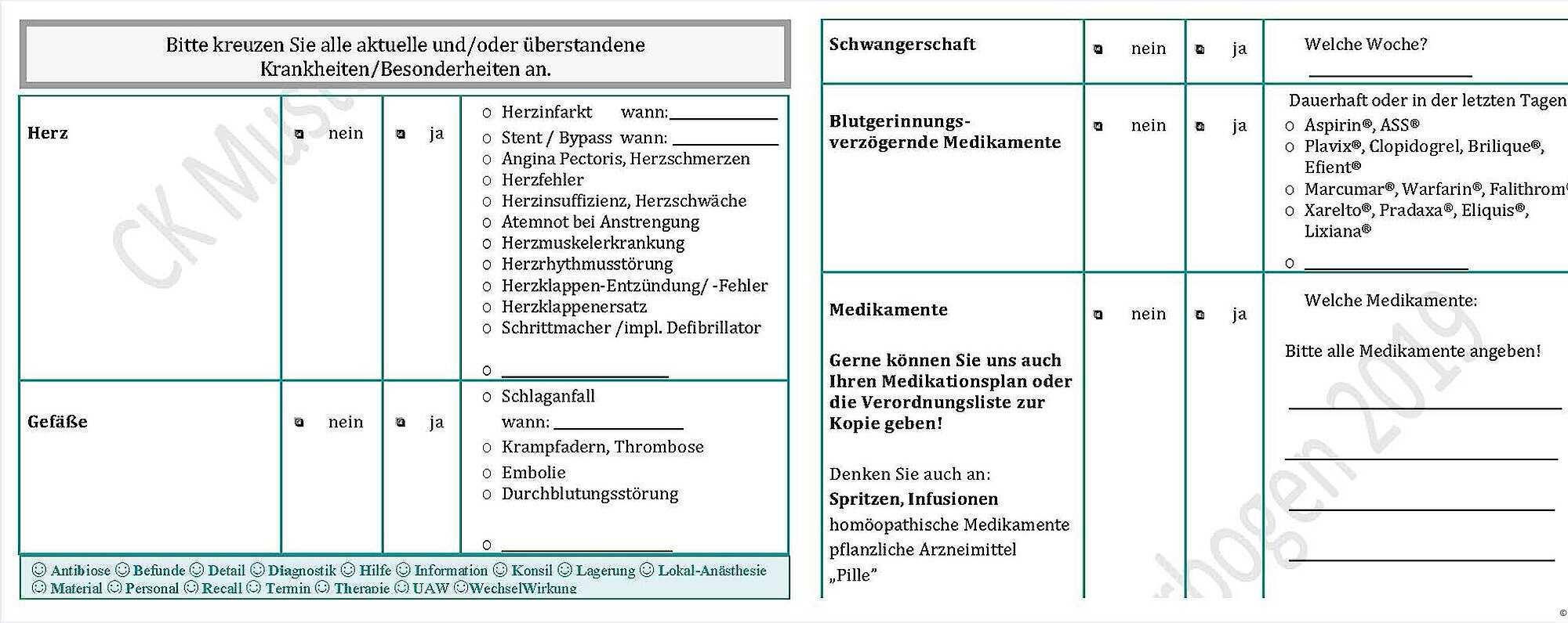 Allgemein Medizinische Anamnese Fur Die Prophylaxe Sitzung Prophylaxe Pnc Aktuell De
