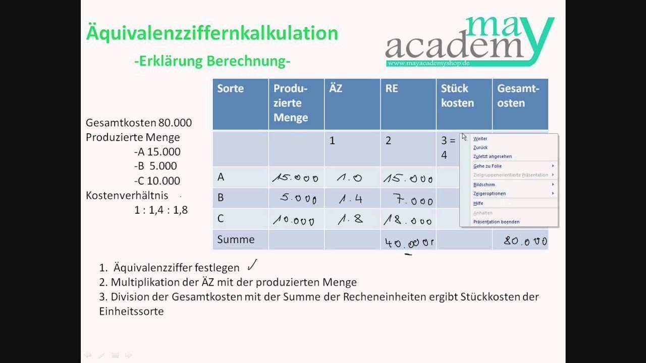 Aquivalenzziffernkalkulation Berechnen Youtube