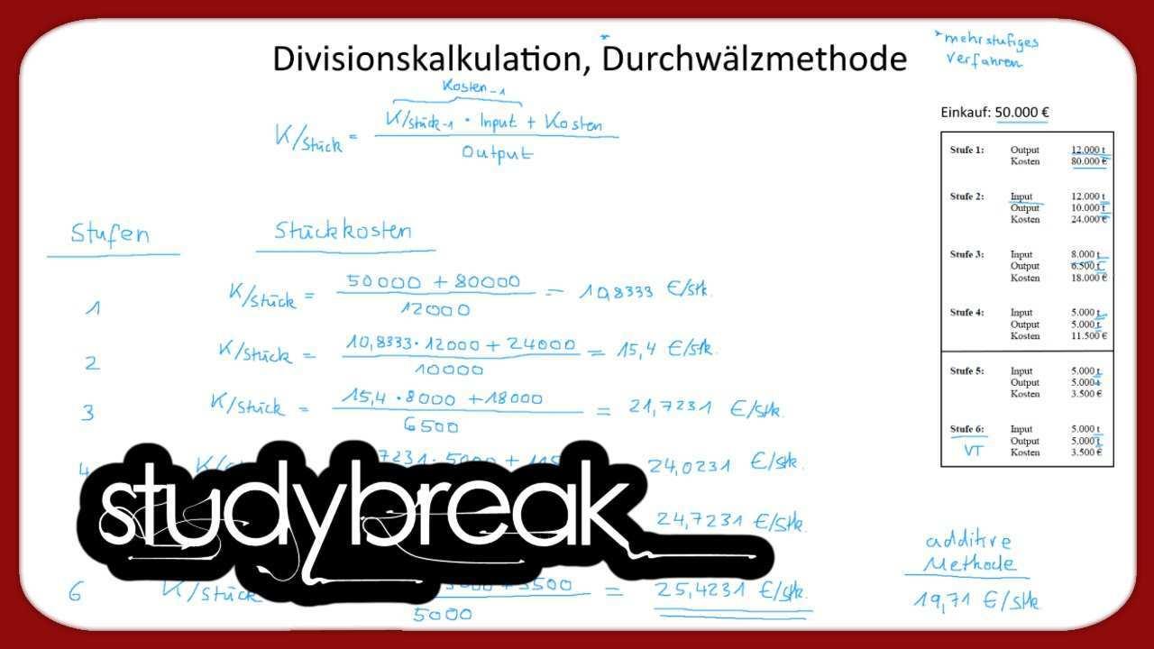 Divisionskalkulation Durchwalzmethode Stuckkosten Kosten Und Leistungsrechnung Youtube