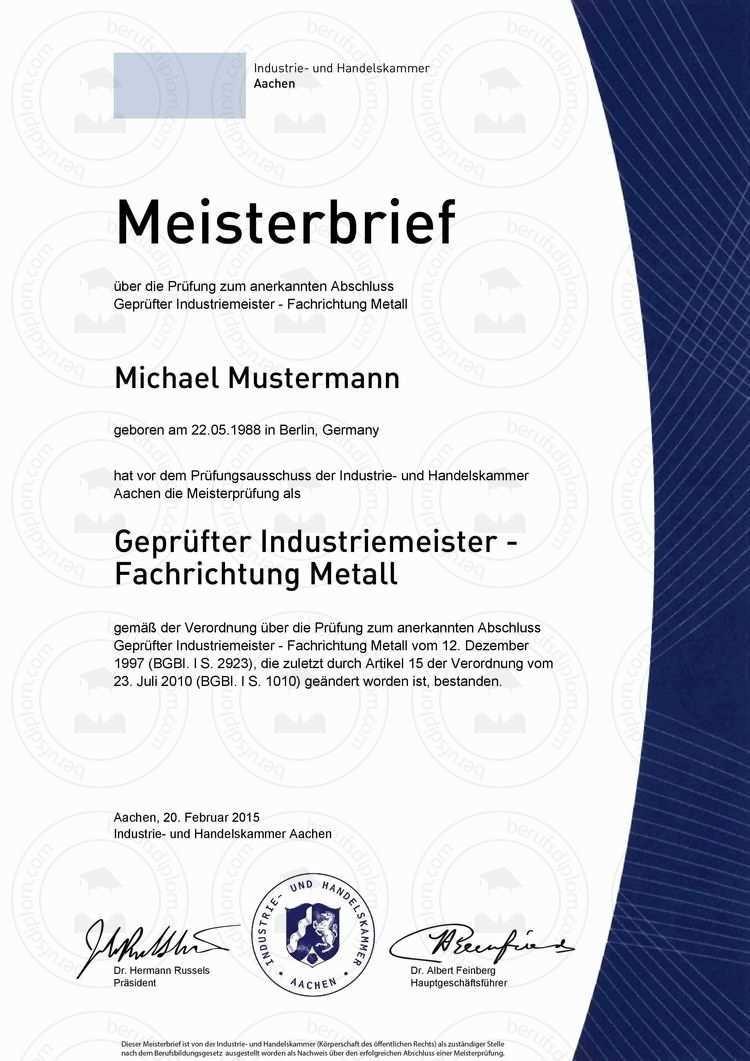 Ihk Meisterbrief Online Kaufen Master In Nur Wenigen Minuten Als Hochauflosendes Pdf Zum Download Industriemeisterbrief Aktuel Meisterbrief Urkunde Zeugnis