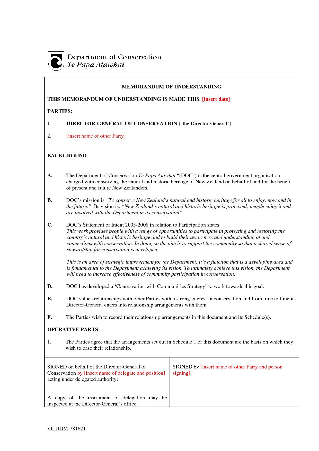 Memorandum Of Understanding Sample Free Printable Documents Memorandum Memo Template Business Letter Example