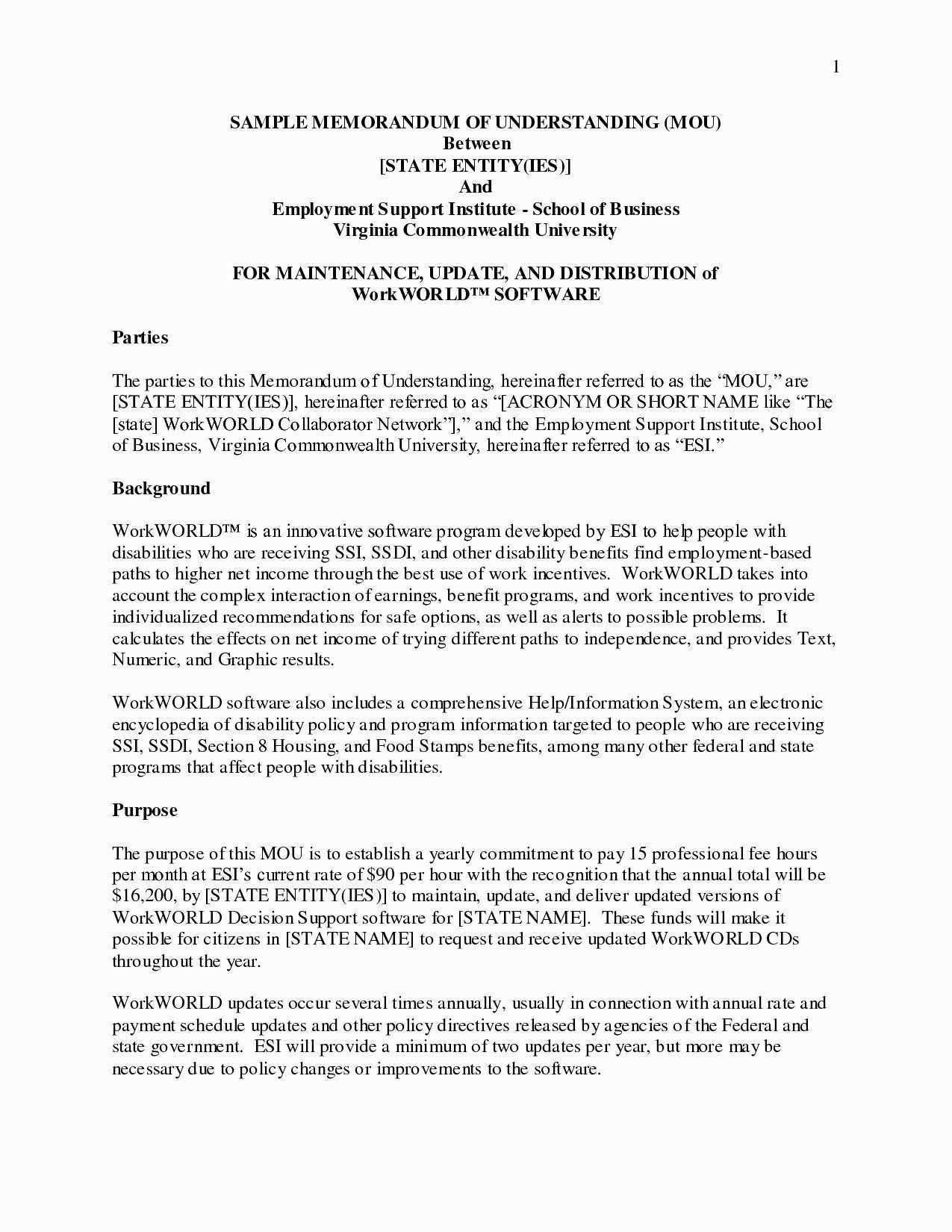 Memorandum Of Understanding Sample Luxury Valid Memorandum Understanding Template Australia Separation Agreement Template Separation Agreement Memorandum