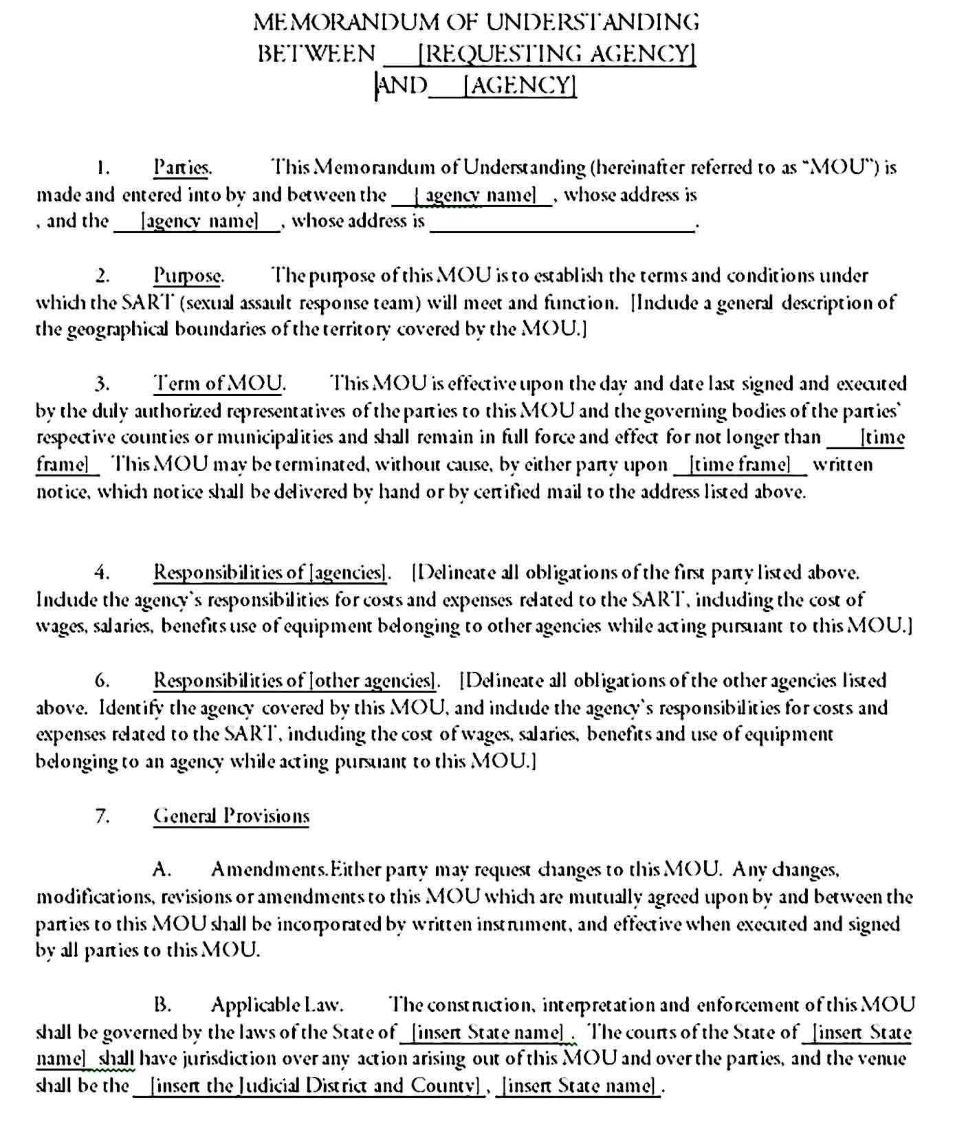 Memorandum Of Understanding Template Printable Memorandum Understanding Template Printable