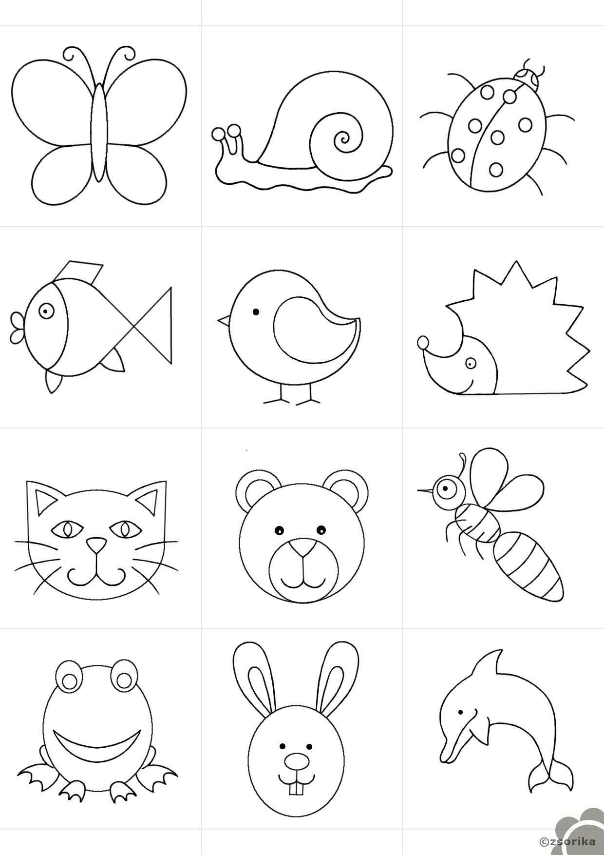 Easy Animals Art Drawings For Kids Quiet Book Templates Easy Drawings For Kids