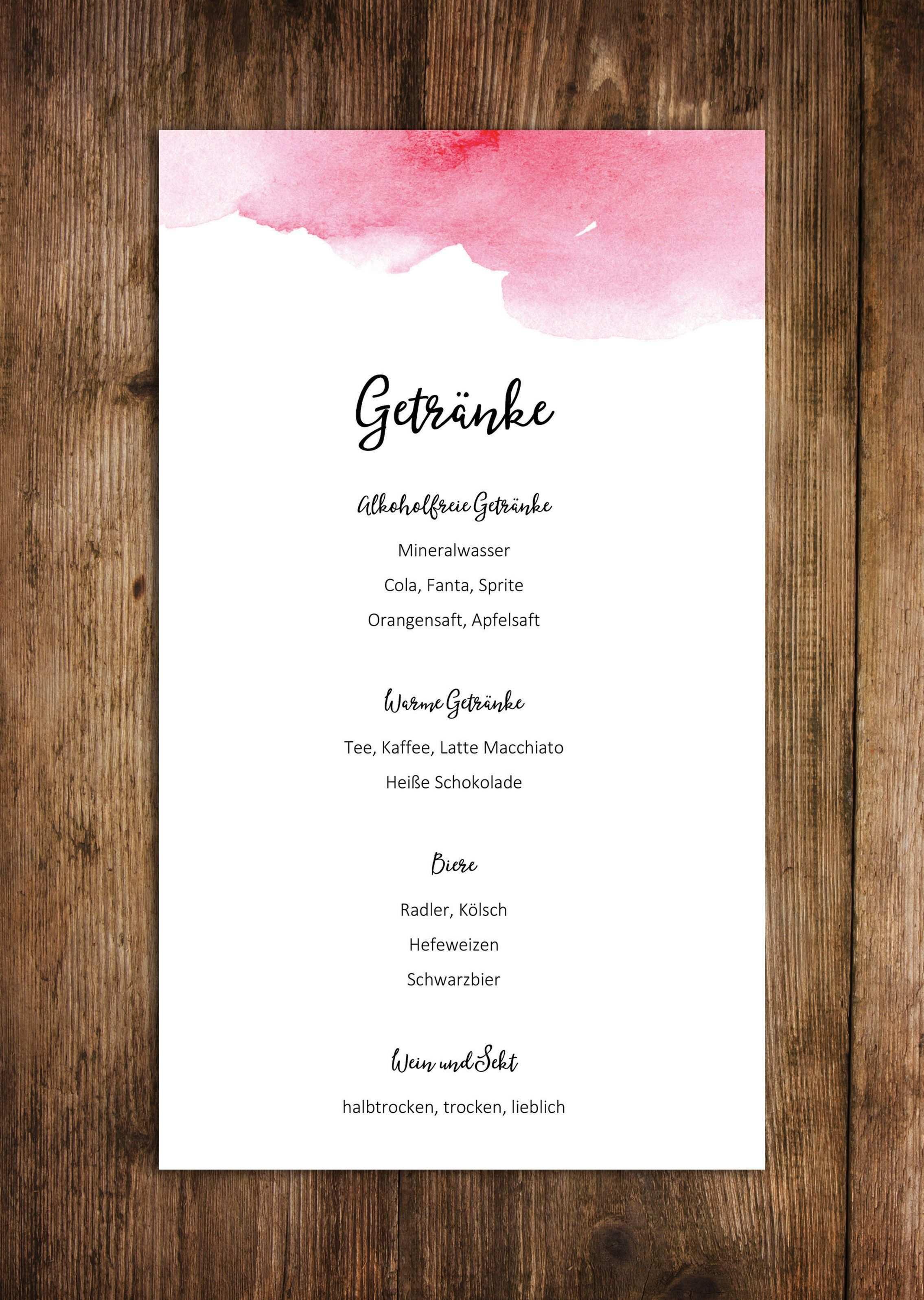 Menukarten Zum Bedrucken Hochzeit Getrankekarte Hochzeit Getranke Karte Hochzeit Restaurant
