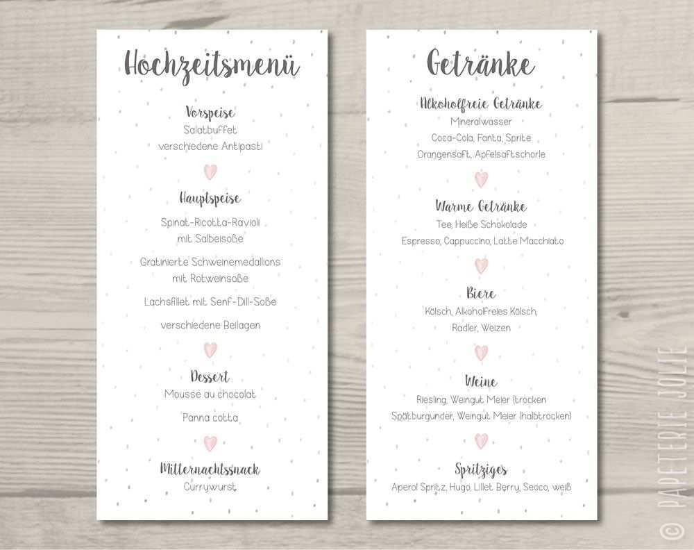 Menu Und Getrankekarte Konfettiherz Getranke Karte Hochzeit Getranke Karte Getrankekarte Hochzeit