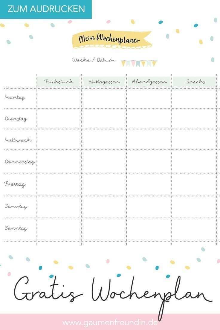 Gratis Wochenplan Vorlage Zum Ausdrucken Fur Den Speiseplan Mealprepplans Gratis Wochenplan Vorlage Zum Ausdr Wochenplan Vorlage Wochen Planer Planer Vorlagen