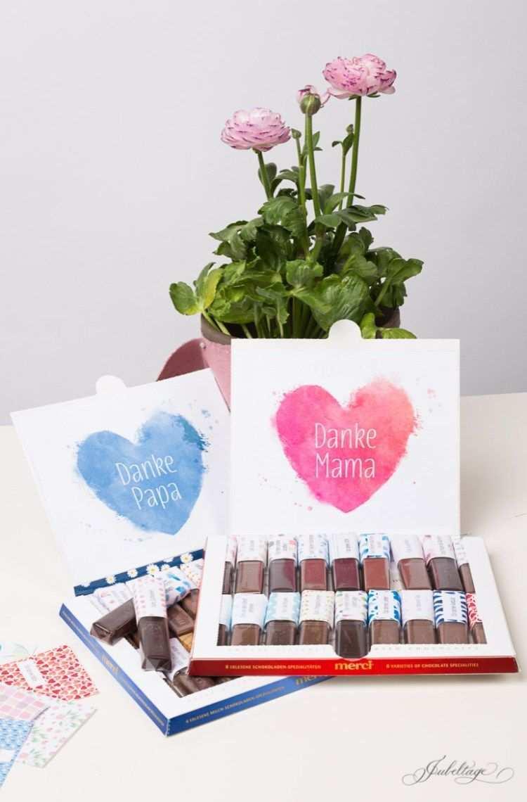 Merci Selbst Gestalten Ein Personliches Geschenk Basteln Mit Vorlage Zum Ausdrucken Diy Geschenke Muttertag Muttertag Geschenk Geschenke Basteln