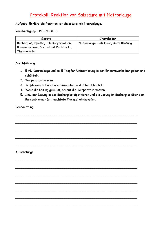 Protokoll Neutralisationsreaktion Chemieunterricht Chemie Unterrichtsmaterial