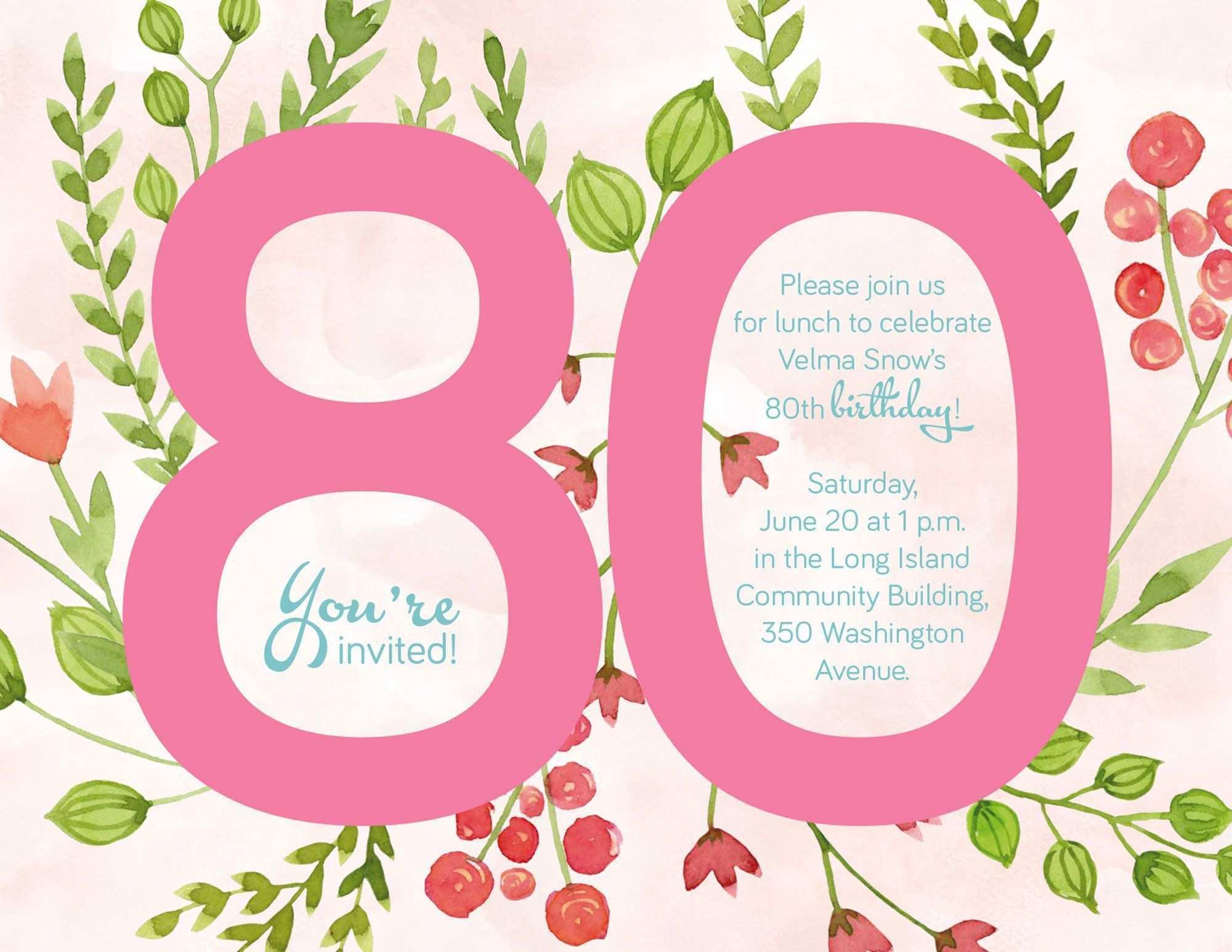Einladung Zum 80 Geburtstag 80 Geburtstag Einladung Vorlage Kostenlos Einladung 80 Einladung 80 Geburtstag Geburtstag Einladung Vorlage Einladung Geburtstag
