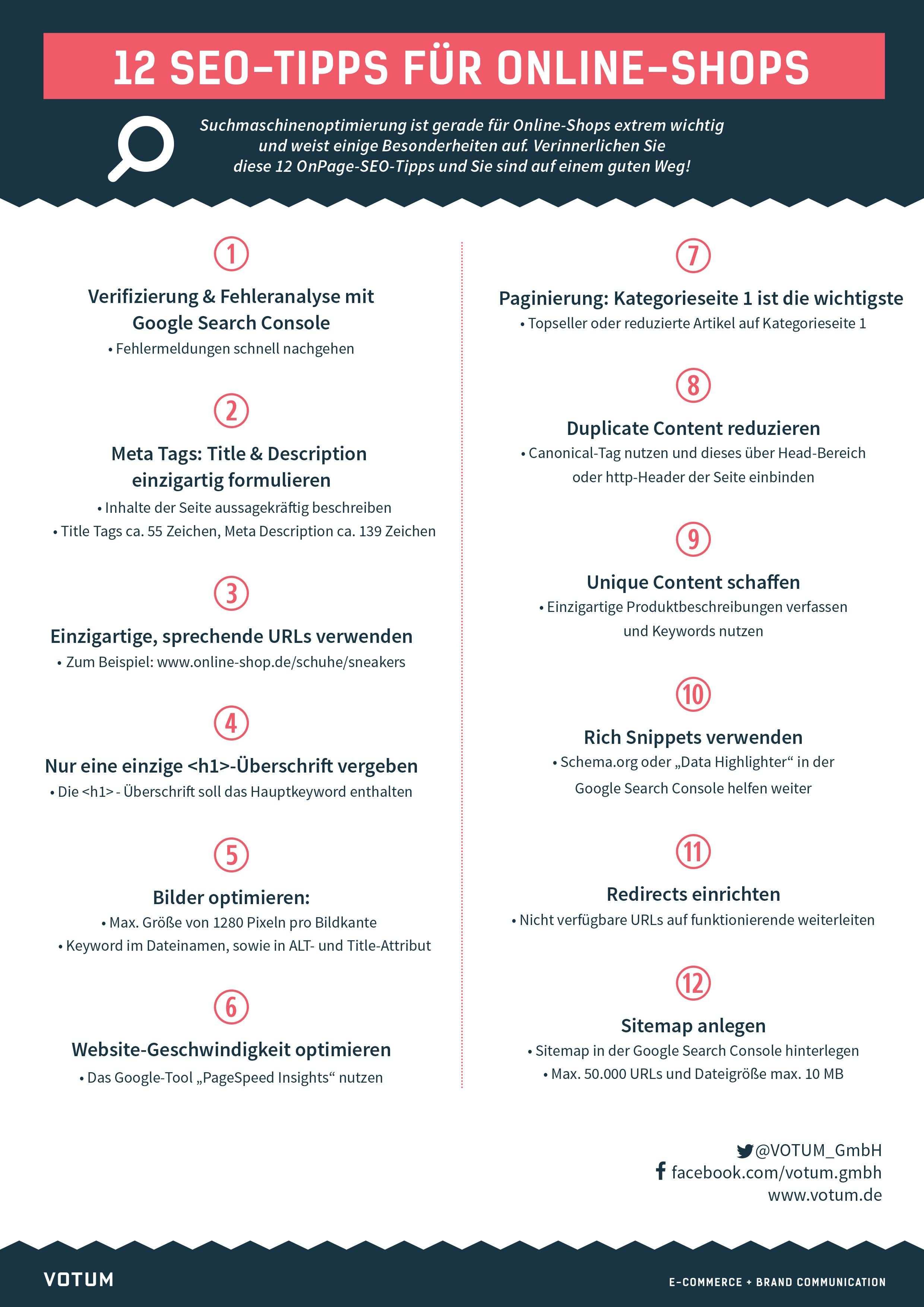 12 Seo Tipps Fur Online Shops Zum Download Votum De Seo Tipps Infografik Suchmaschinenoptimierung