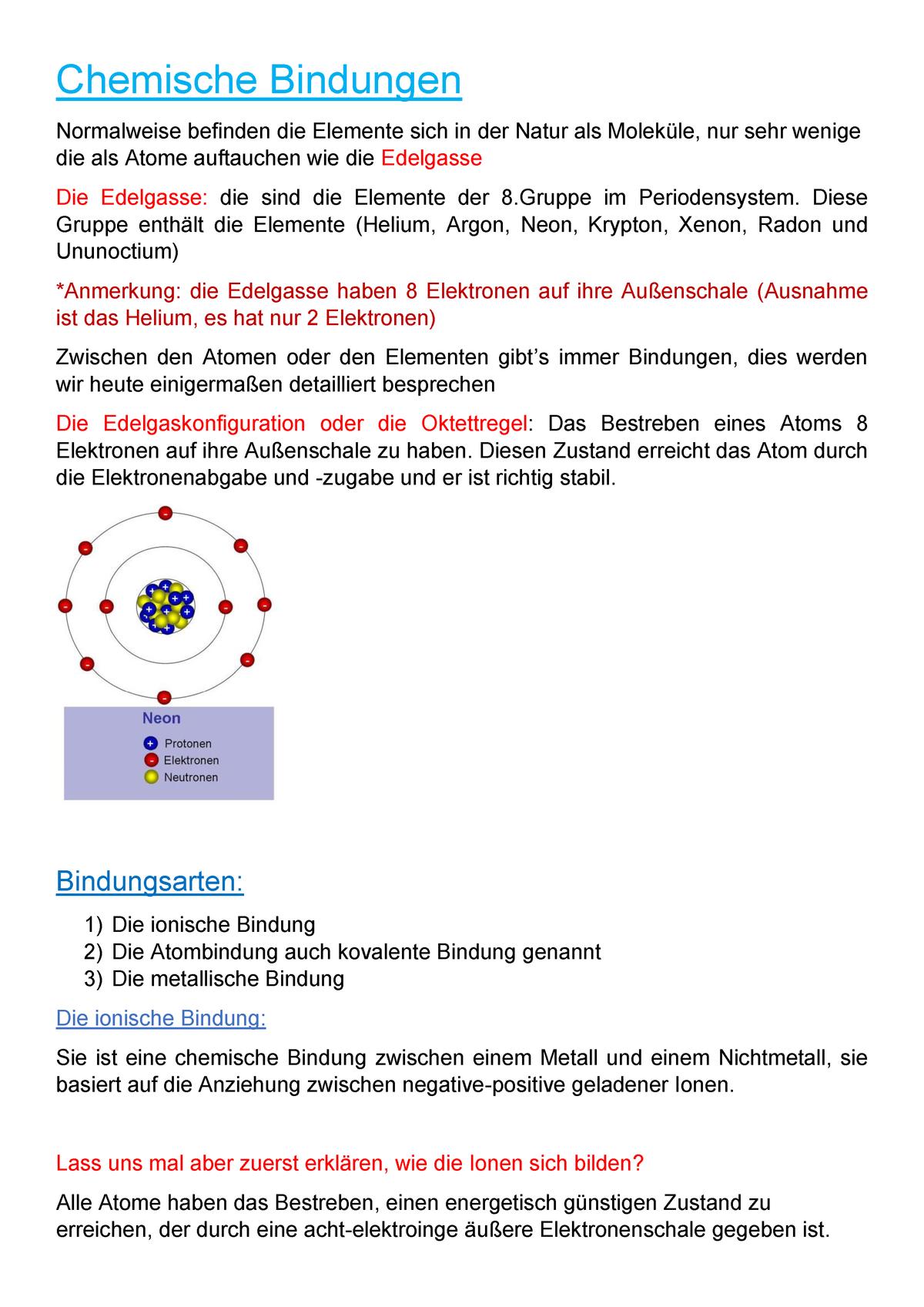 Chemische Bindungen Chemie Uni Kassel Chemische Bindungen Normalweise Studocu
