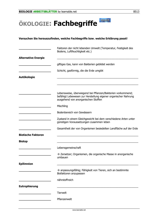 Okologie Fachbegriffe Unterrichtsmaterial Im Fach Biologie Unterrichtsmaterial Okologie Biologie