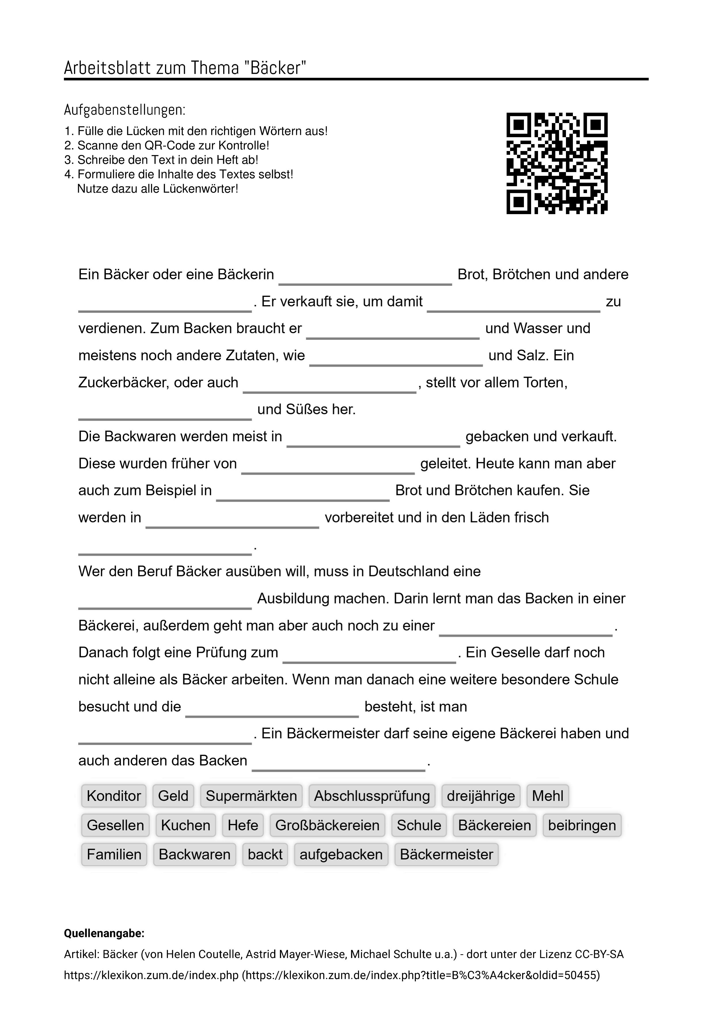 Arbeitsblatter Zum Thema Backer Luckentext Horverstehen Losung Mp3 Aufgabenstellung Arbeit Arbeitsblatter