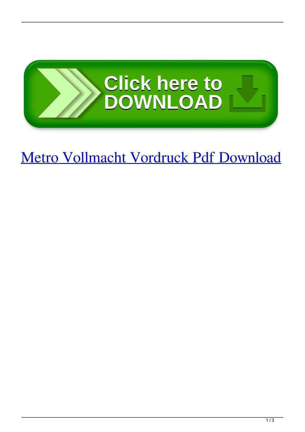 Metro Vollmacht Vordruck Pdf Download By Upnatfuecran Issuu