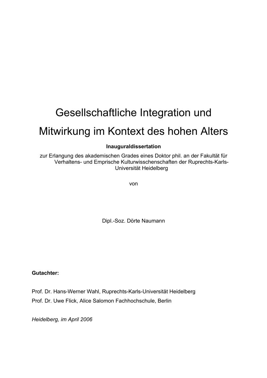 Pdf Gesellschaftliche Integration Und Mitwirkung Im Kontext Des Hohen Alters Integration And Participation In The Community In Advanced Old Age