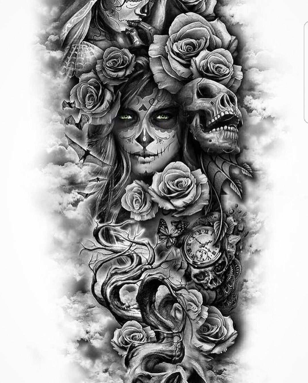 Totenmaske Tattoo Armeltatowierungen Rose Tattoo Armel Mexikanisches Tattoo