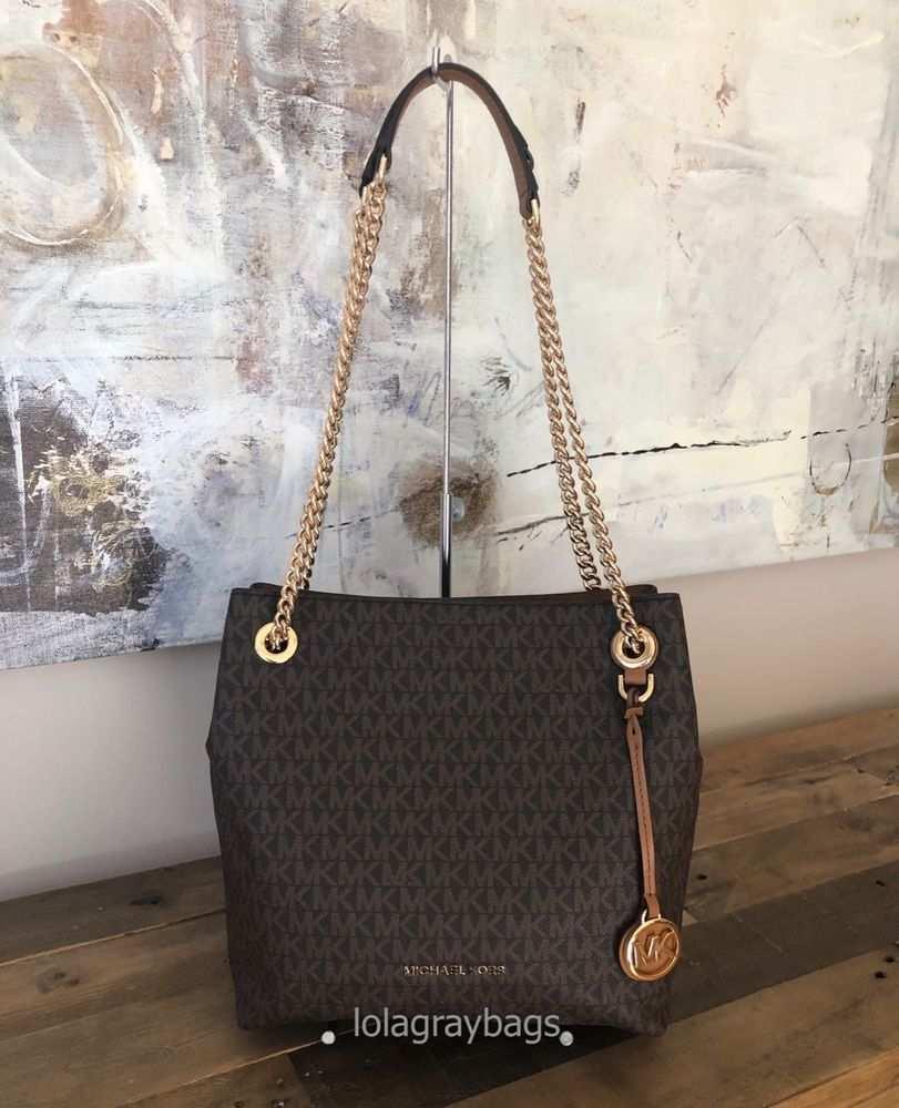 Michael Kors Jet Set Chain Medium Shoulder Tote Brown Acorn Fashion Clothing Shoes Accessories Womensb Handbags Michael Kors Shoulder Bag Women Brown Tote