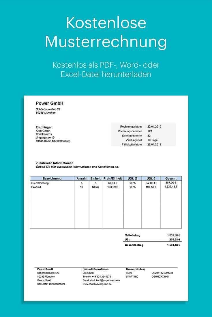 Musterrechnung Fur Word Und Excel Kostenlos Herunterladen Perfekt Fur Unternehmer Mit Umfangreicher An In 2020 Rechnung Vorlage Rechnungsvorlage Rechnungen Schreiben