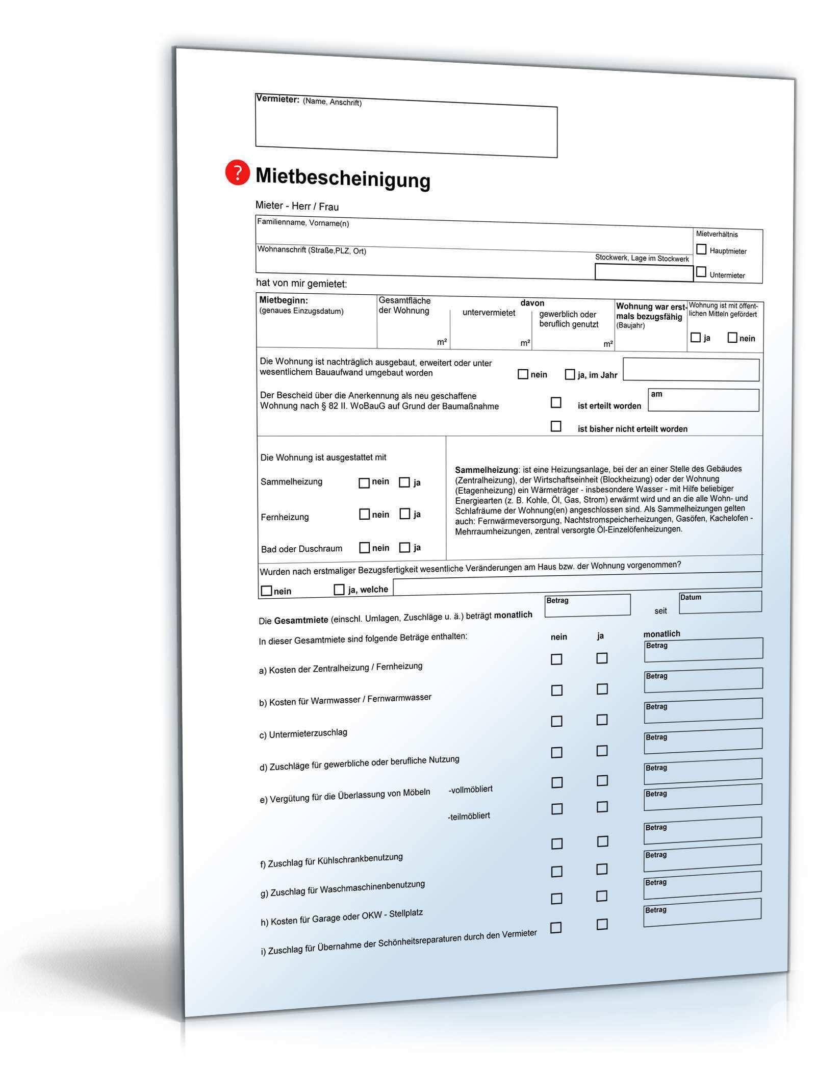 Mietbescheinigung Anwaltsgepruftes Muster Zum Download