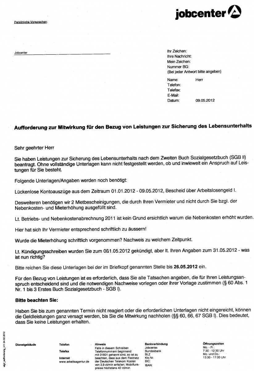 Schreiben Vom Jobcenter Erwerbslosenforum Deutschland