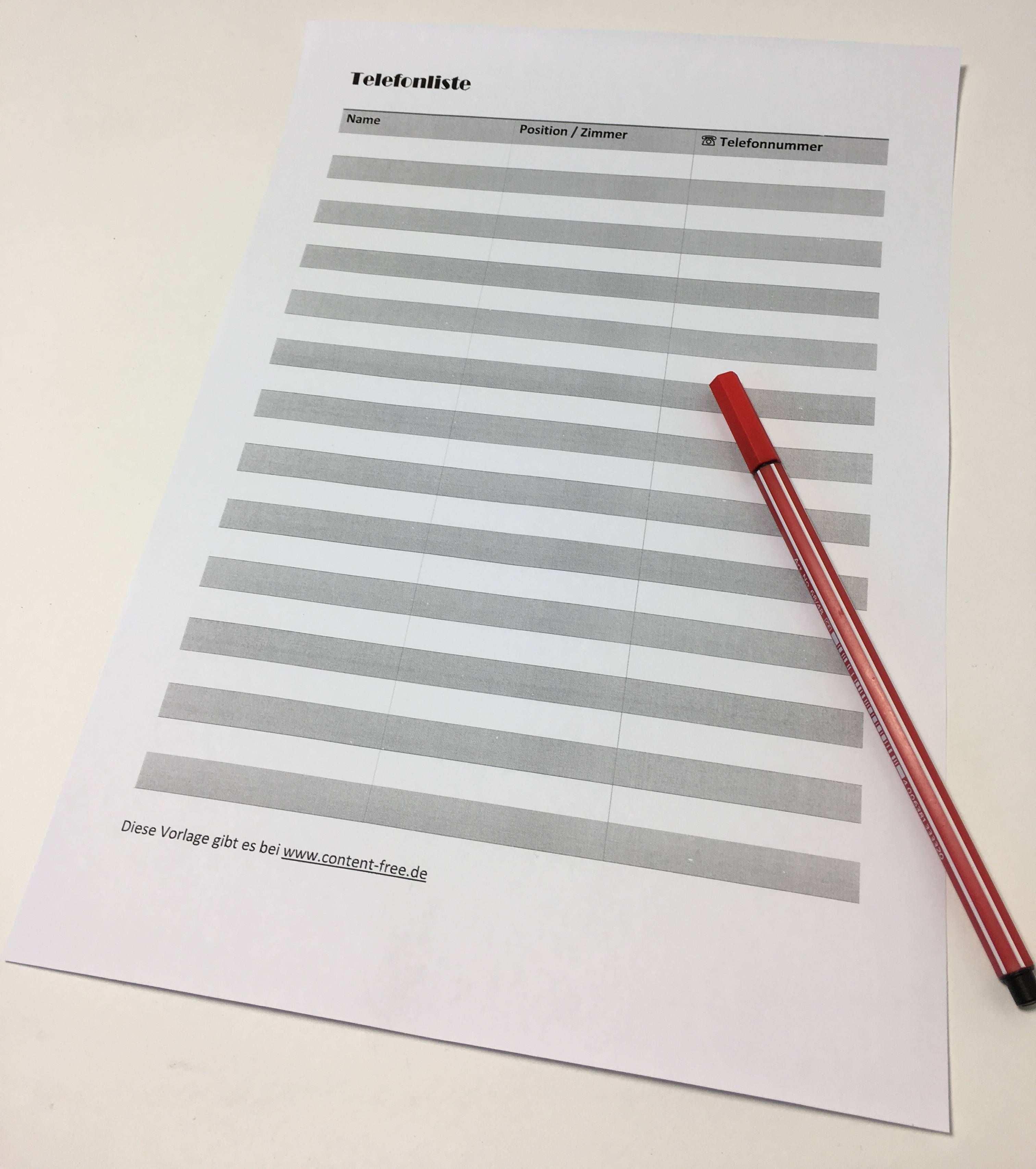 Telefonliste Zum Ausdrucken Telefon Ausdrucken Vorlagen