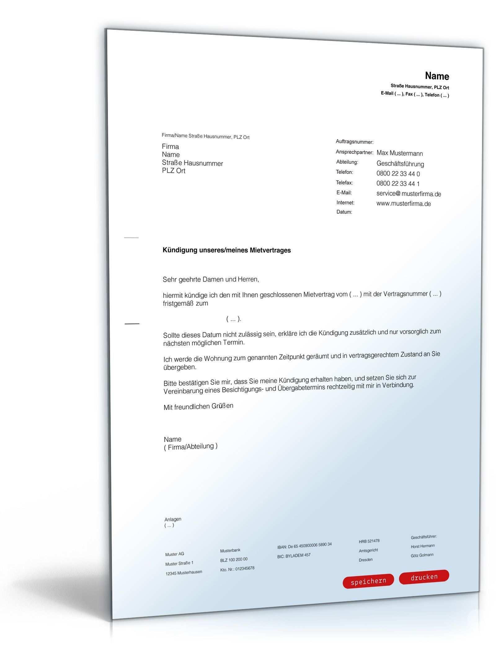 Kundigung Mietvertrag Frist Nicht Eingehalten Vorlagen Word Vorlagen Kundigung
