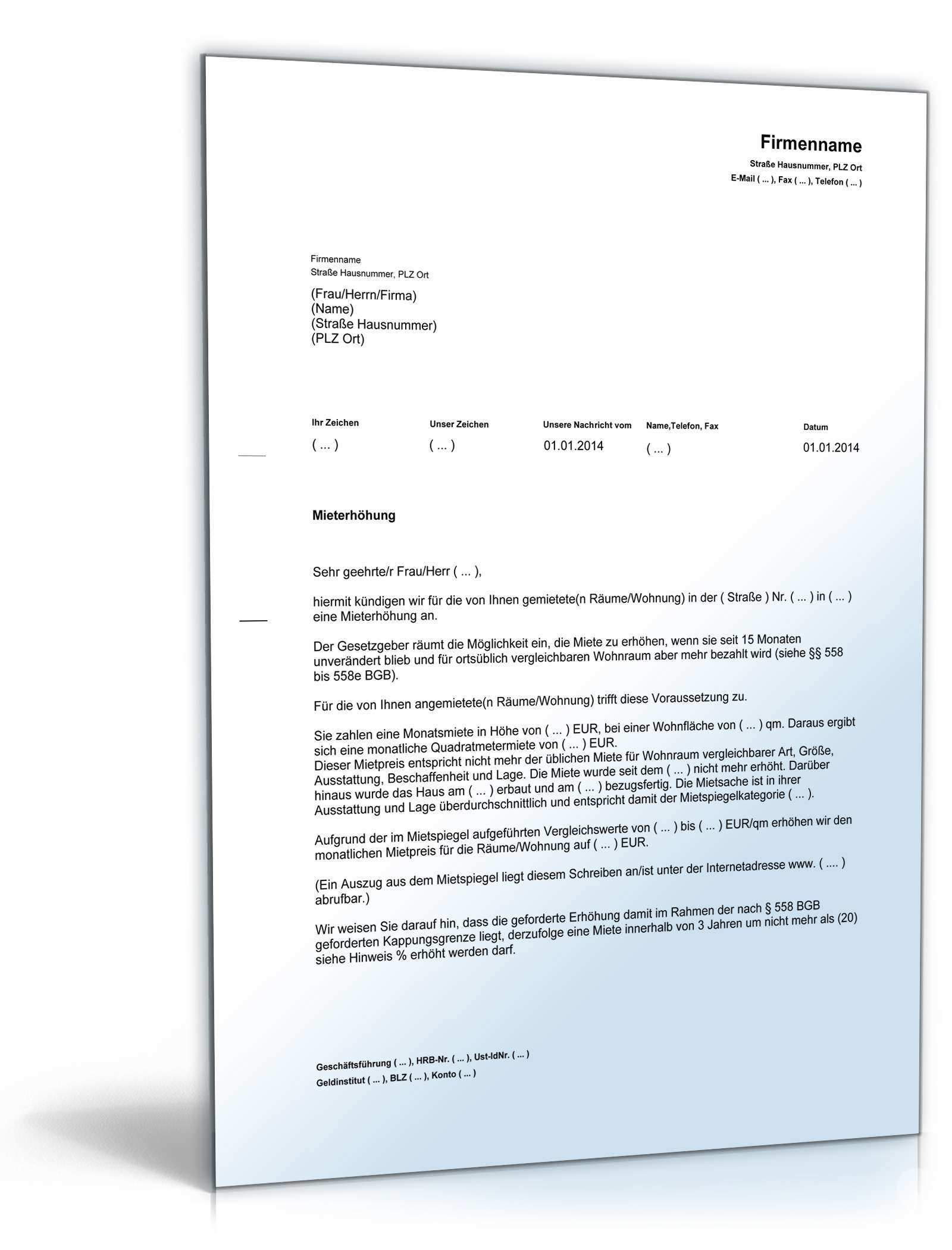 Ankundigung Mieterhohung Rechtssicheres Muster Zum Download