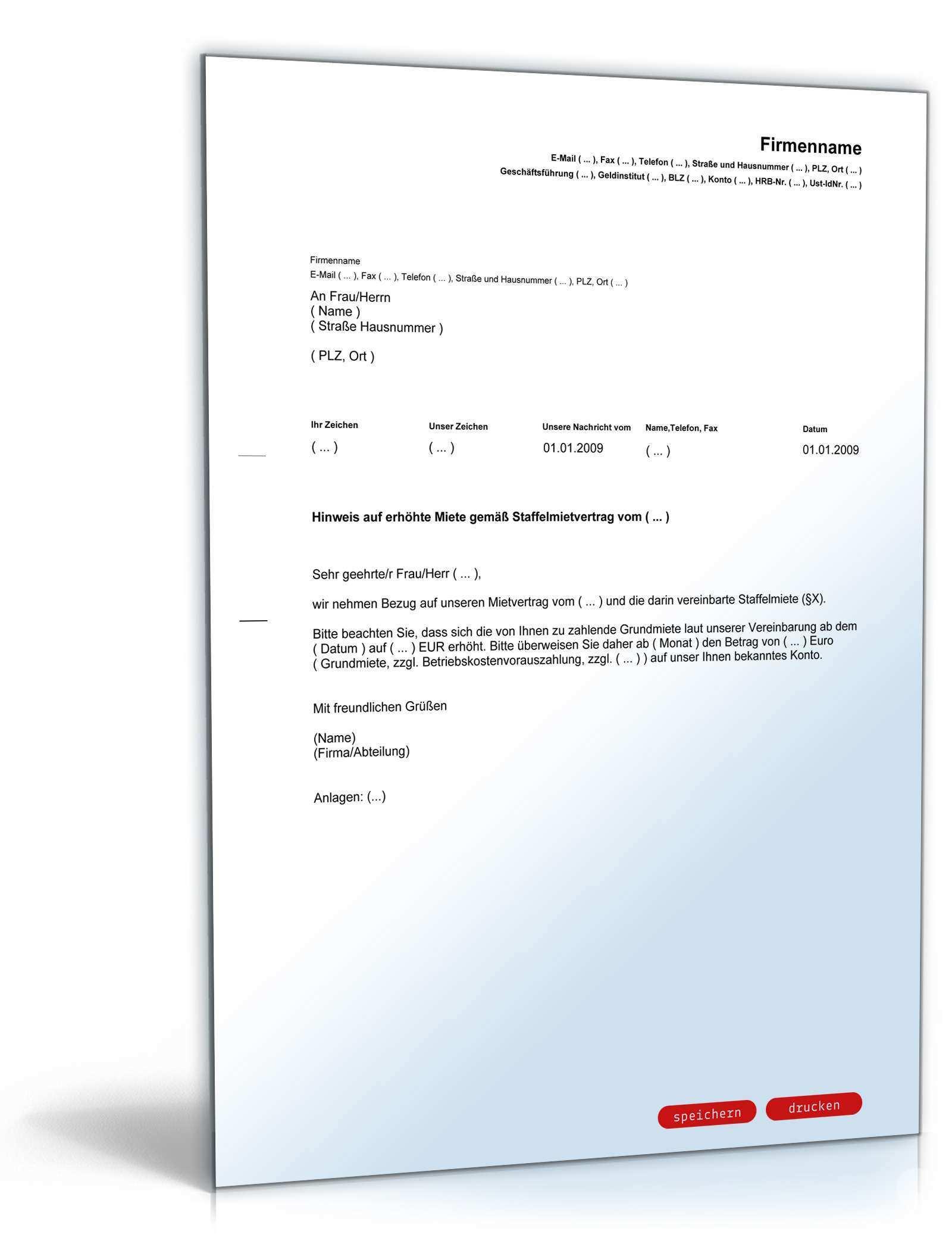 Ankundigung Mieterhohung Staffelmiete Muster Zum Download