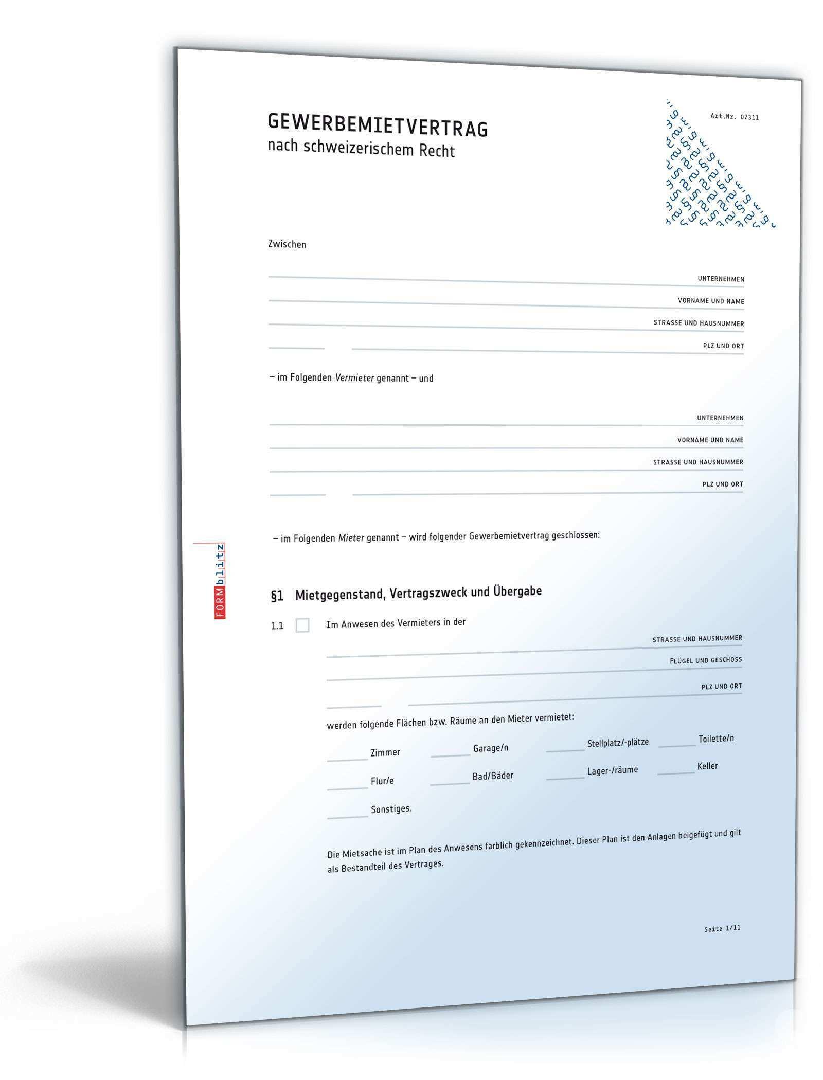 Gewerbemietvertrag Muster Vorlage Zum Download