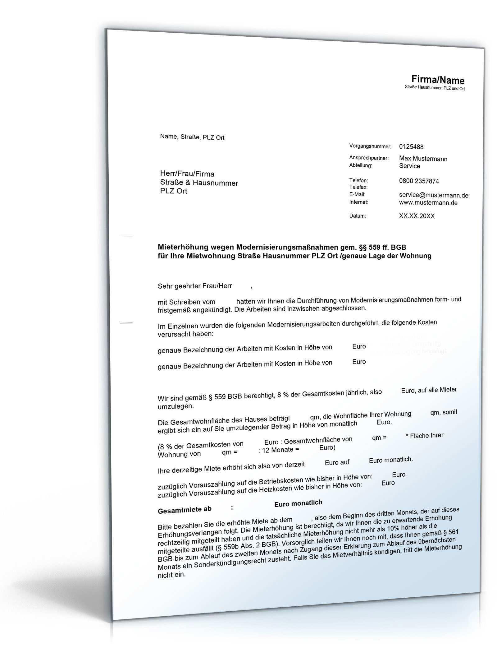 Mieterhohung Modernisierungsmassnahmen Vorlage Zum Download