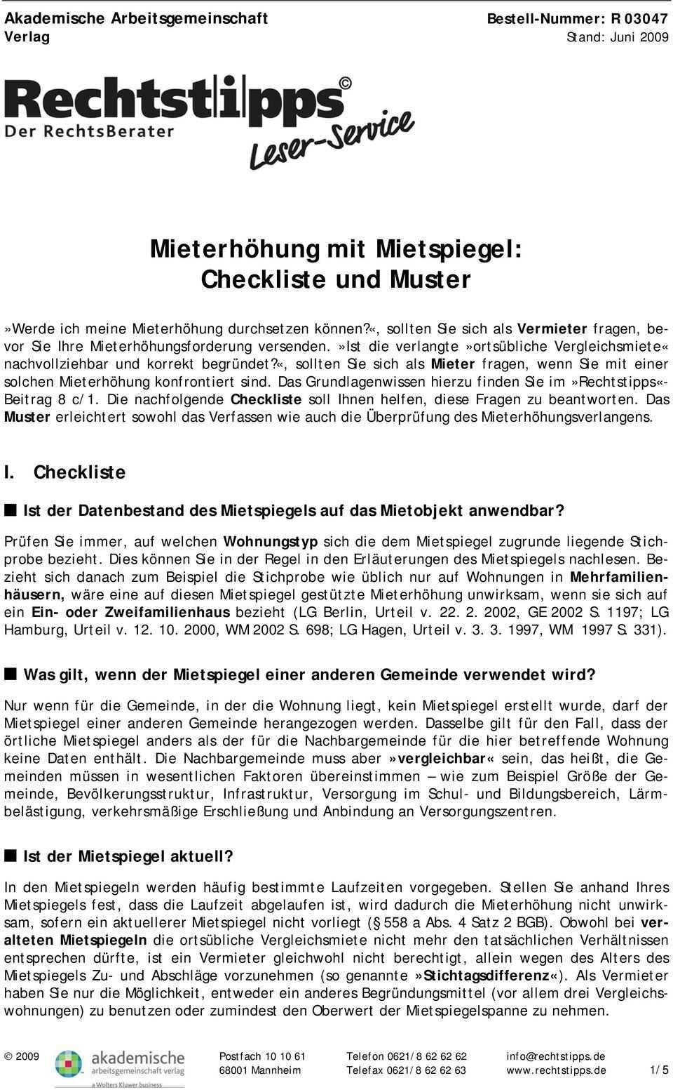 Mieterhohung Mit Mietspiegel Checkliste Und Muster Pdf Free Download