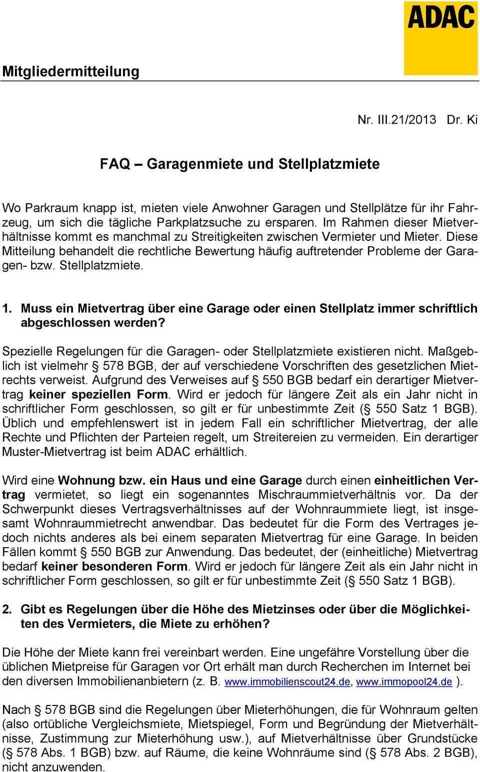 Faq Garagenmiete Und Stellplatzmiete Pdf Free Download