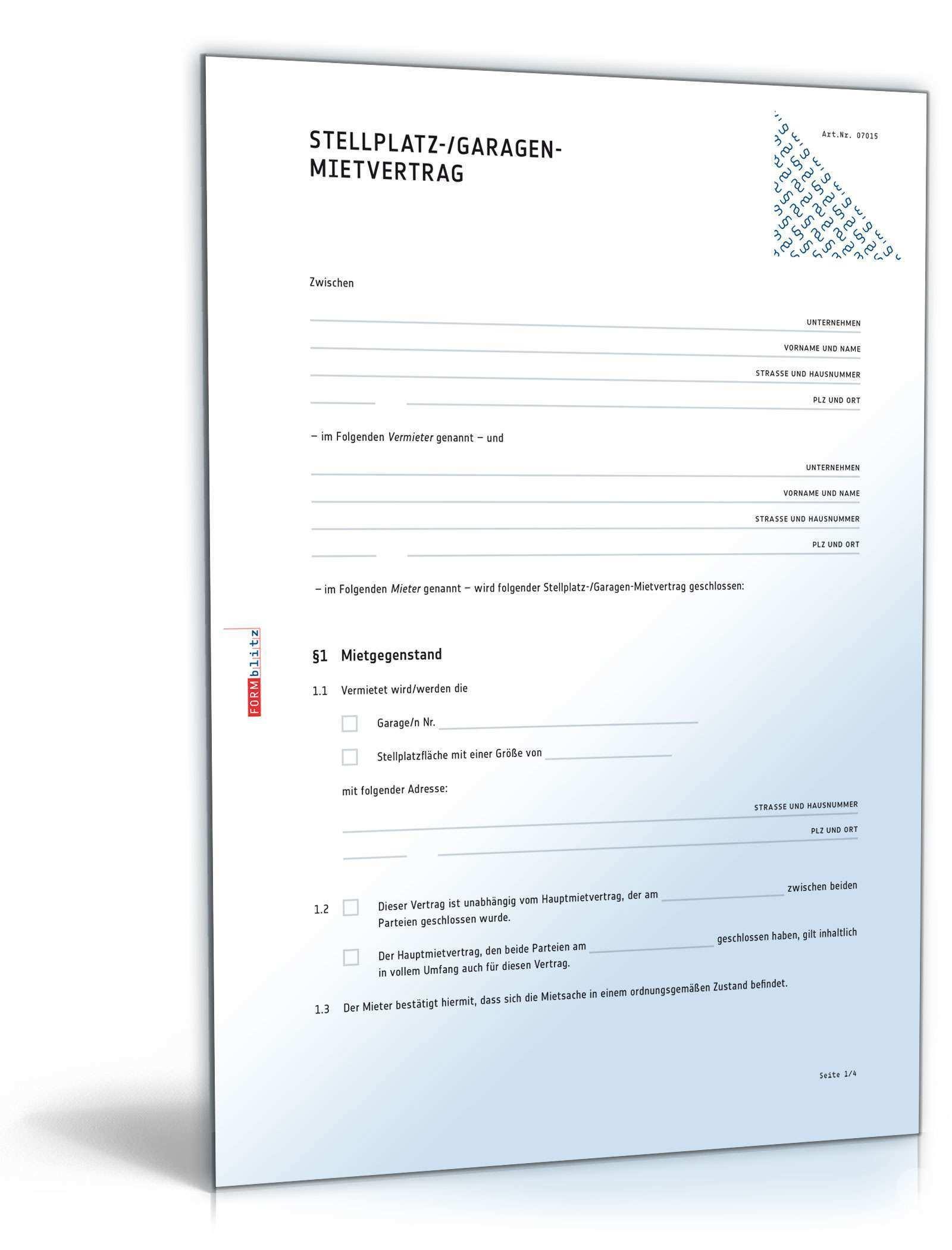 Garagenmietvertrag Muster Vorlage Zum Download